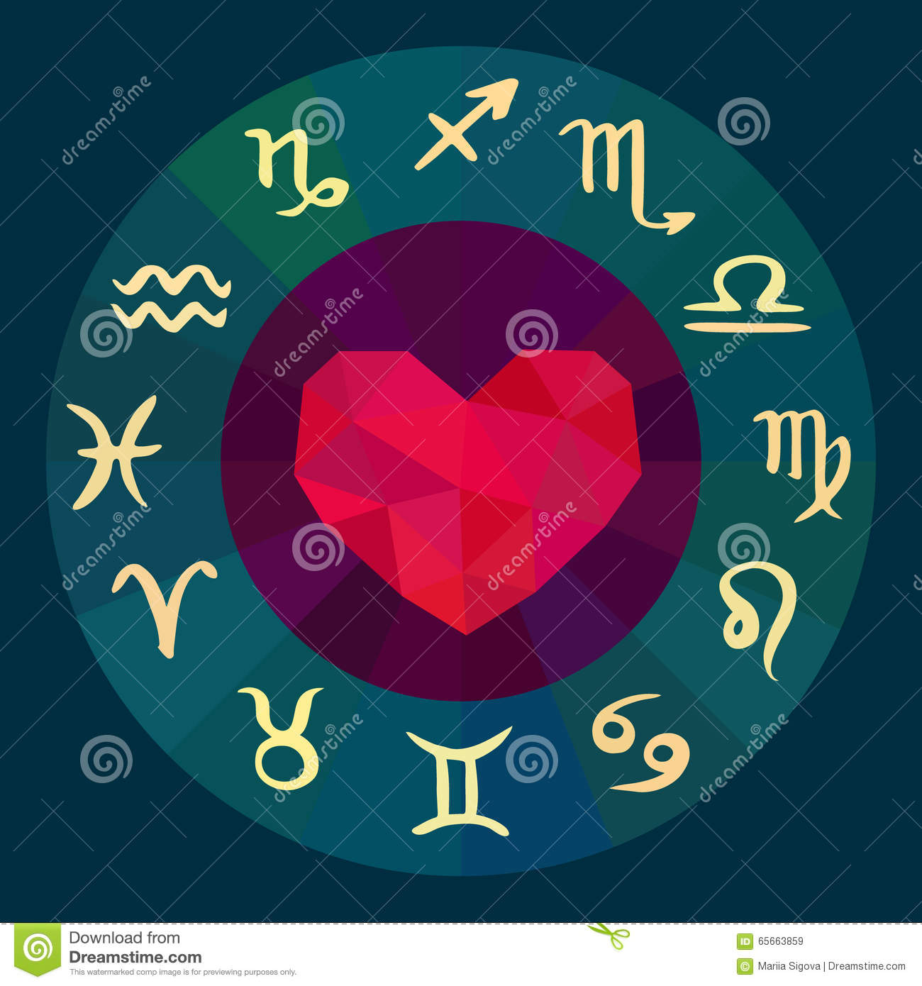 Zodiac Signs Love Horoscope Stock Vector Illustration Of