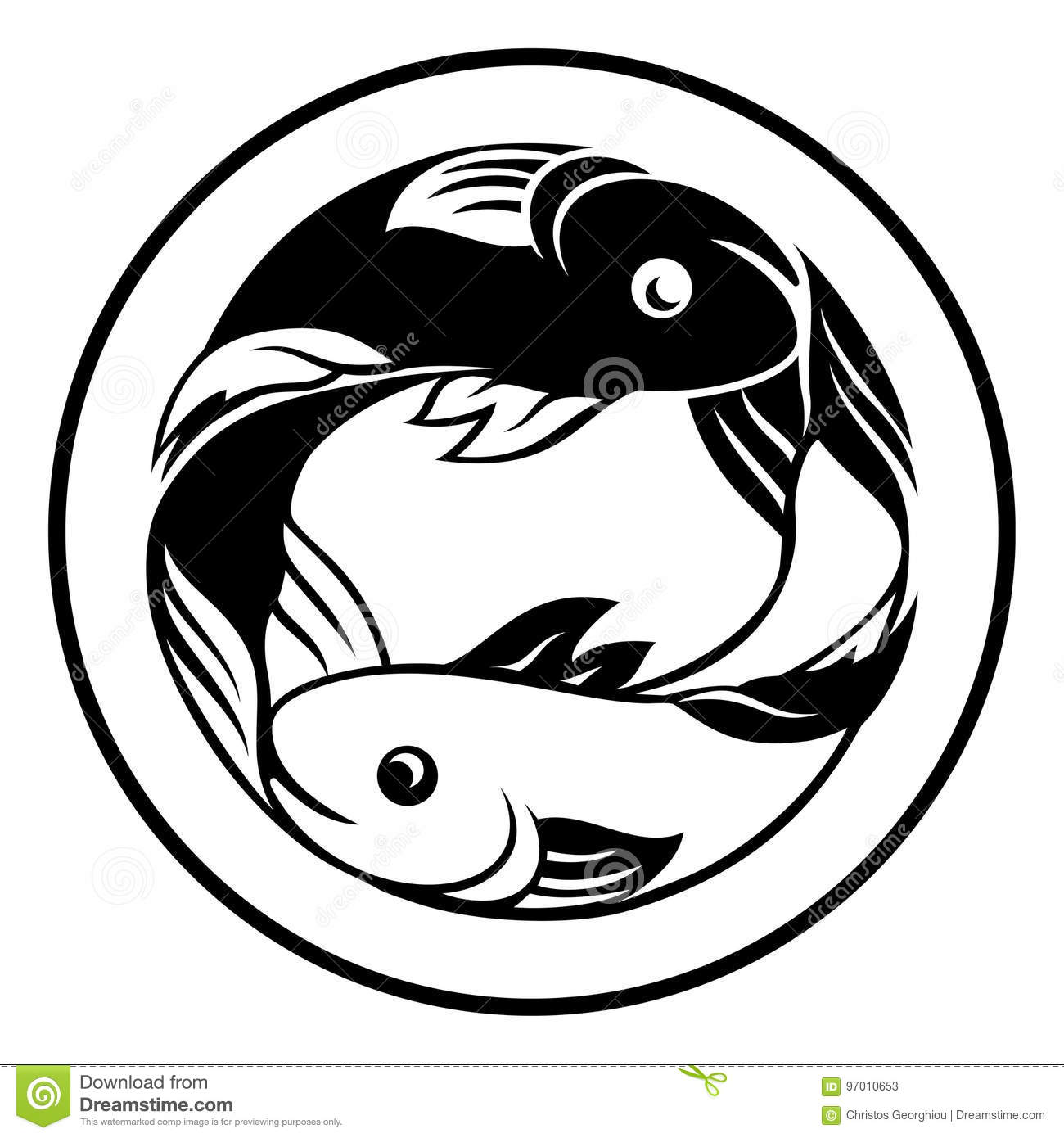 Zodiac Signs Pisces Fish Icon Stock Vector Illustration Of Birth