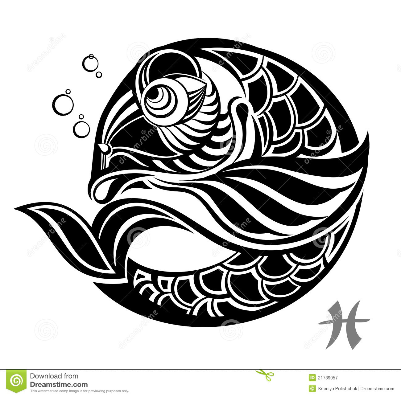 Zodiac signs pisces tattoo design stock vector for Tattoo horoscope signs