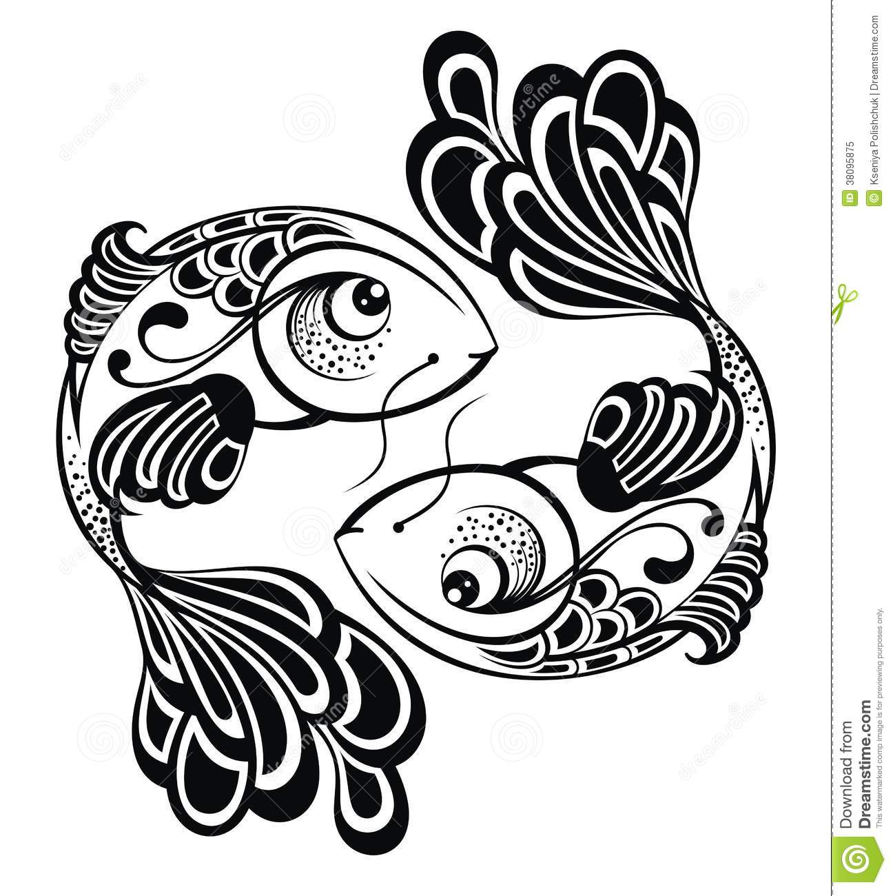 Zodiac Signs - Pisces. Tattoo Design Royalty Free Stock Photo - Image ...