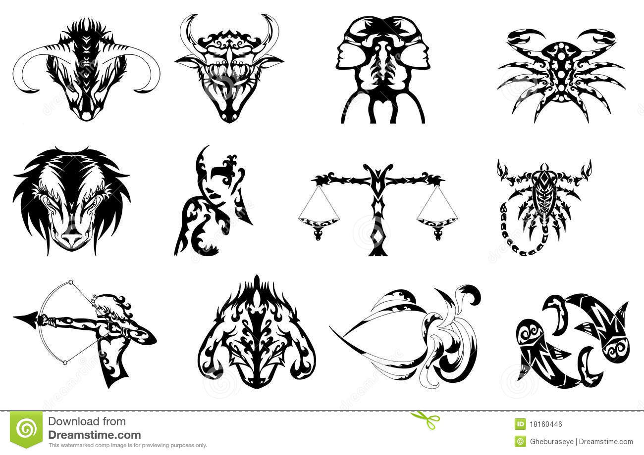 Set Of Zodiac Signs Tattoos In Black Royalty Free Stock