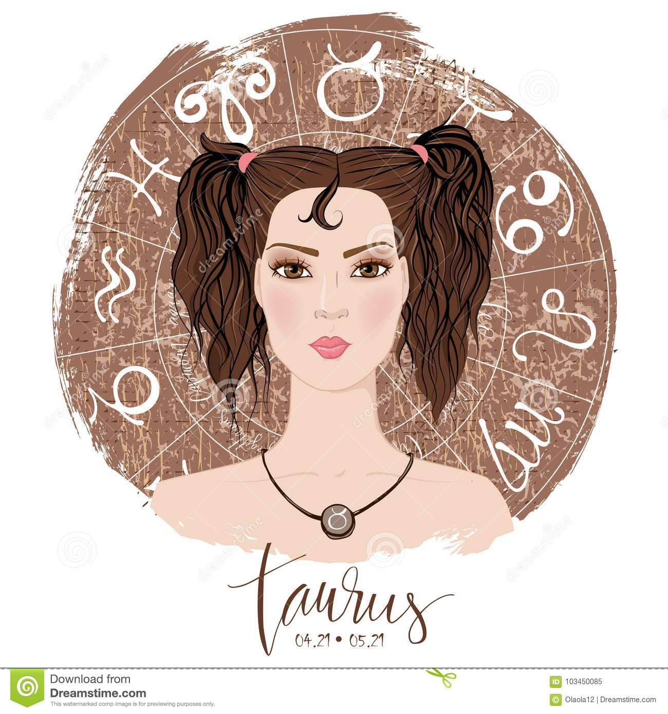 Zodiac Signs Taurus In Image Of Beauty Girl  Stock Vector