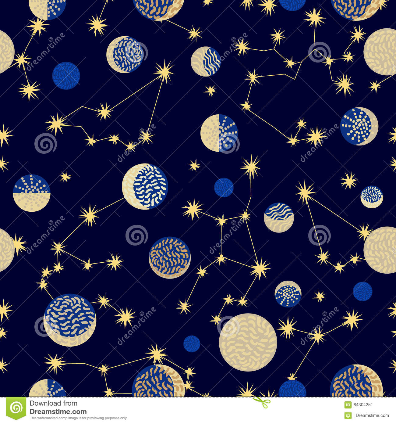 Zodiac sky. Abstract seamless vector pattern with constellations.