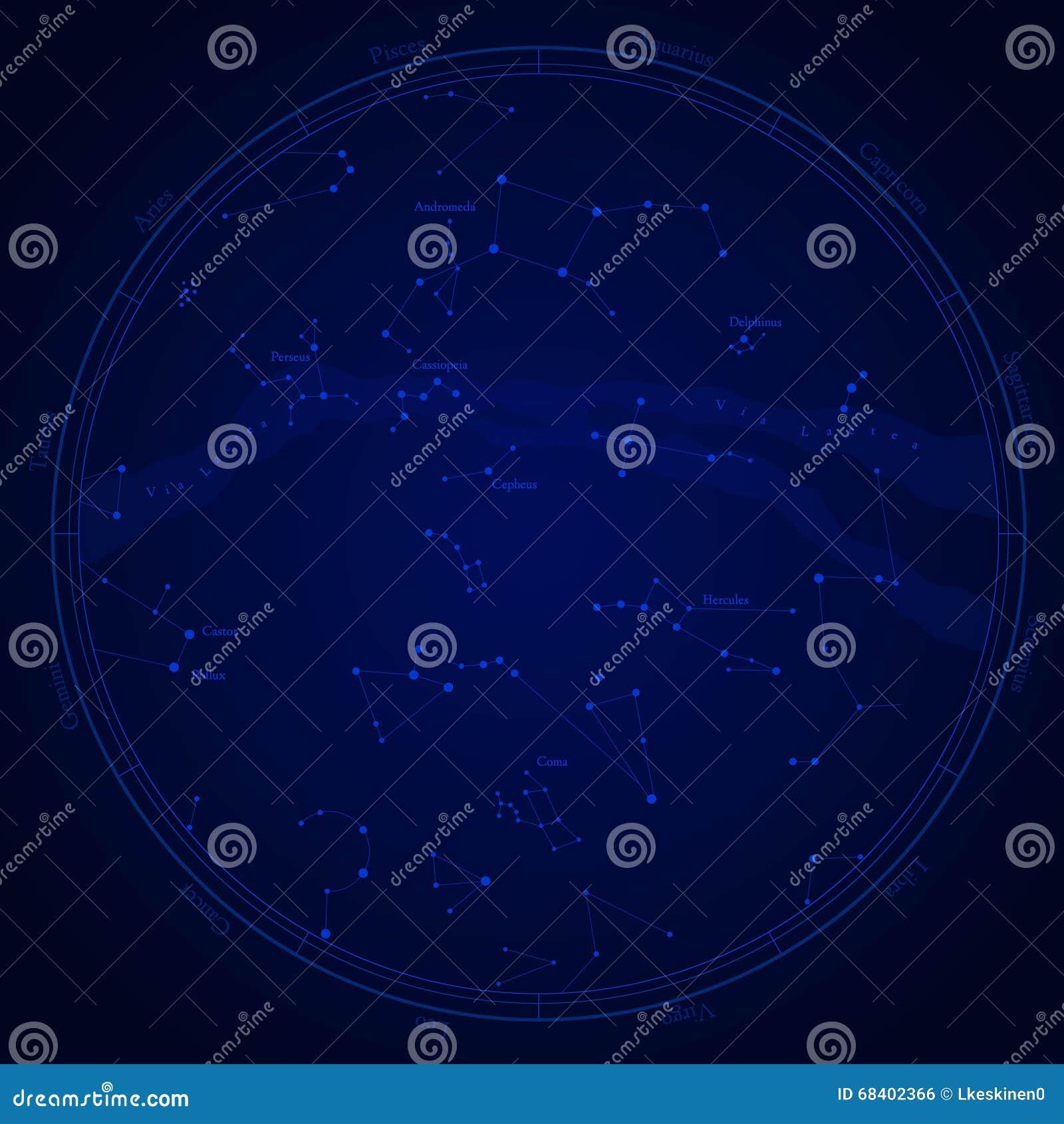 Zodiac Star Map Stock Illustration Illustration Of Astronomy 68402366
