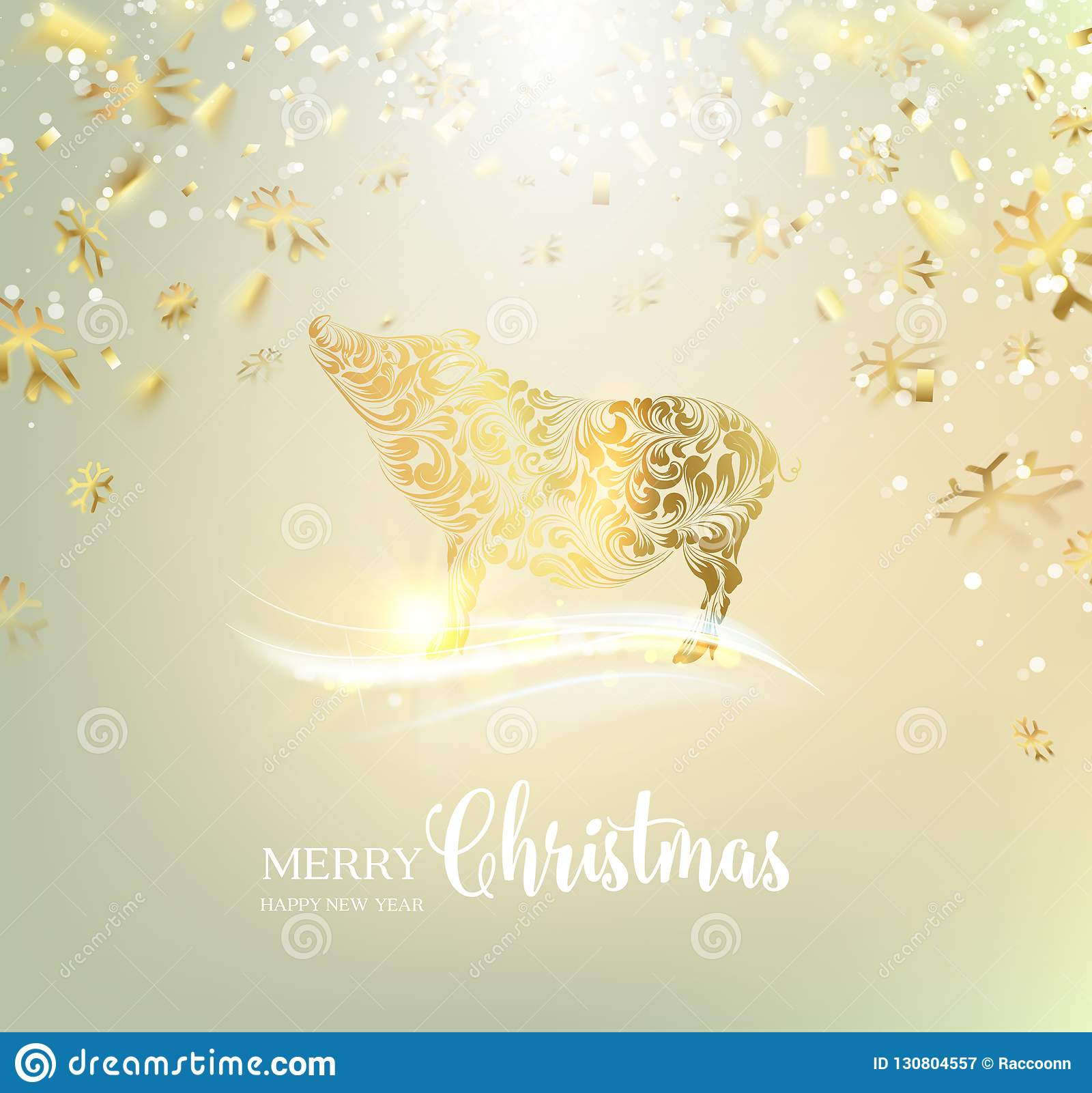 Zodiac Symbol With Curves Of Ribbon Confetti. Golden Confetti Falls On The Background. A Pig For ...