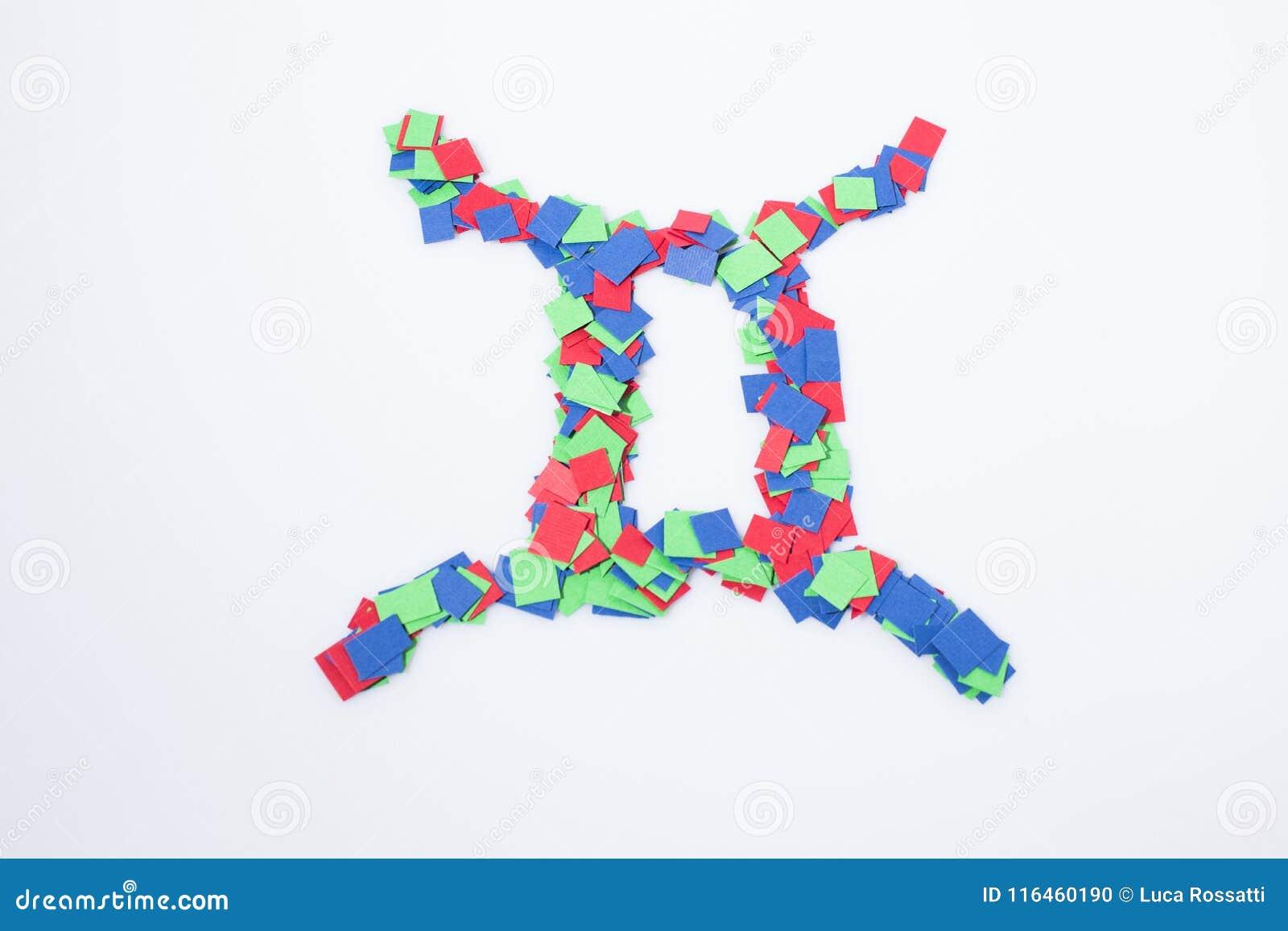 Zodiac Symbol Gemini Multicolor Isolated In A White Background Stock