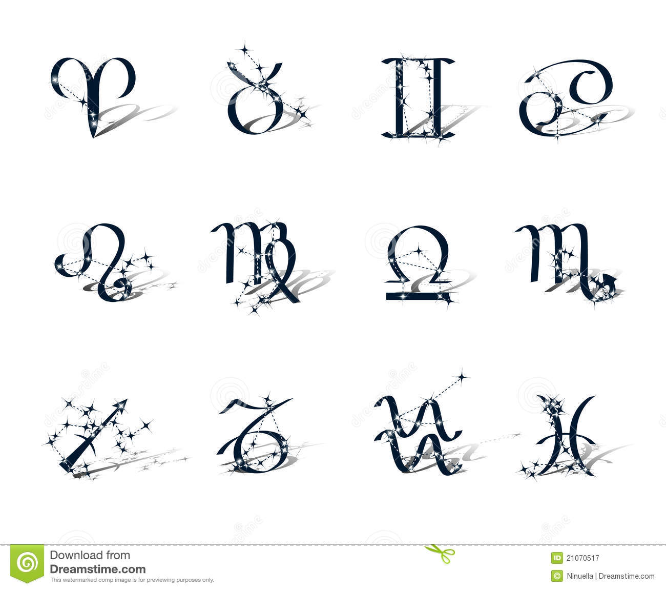 ... Free Stock Photography: Zodiac symbols decorated zodiac constellations