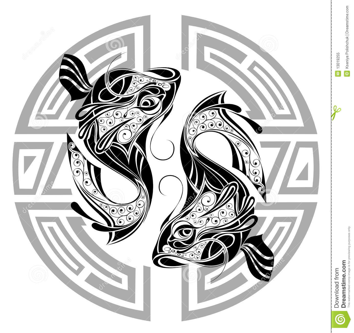 Zodiac Wheel With Sign Of Pisces Tattoo Design Stock Vector Illustration Of Medallion Symbol 13019255