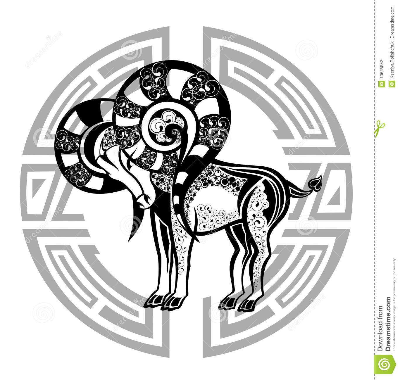 30059fd3f Zodiac Whell With Sign Of Aries. Tattoo Design. Stock Vector ...
