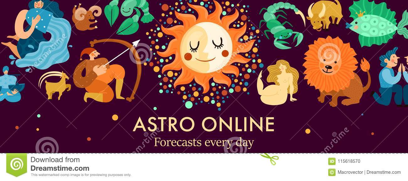 Zodiacal Signs Header Illustration Stock Vector - Illustration of