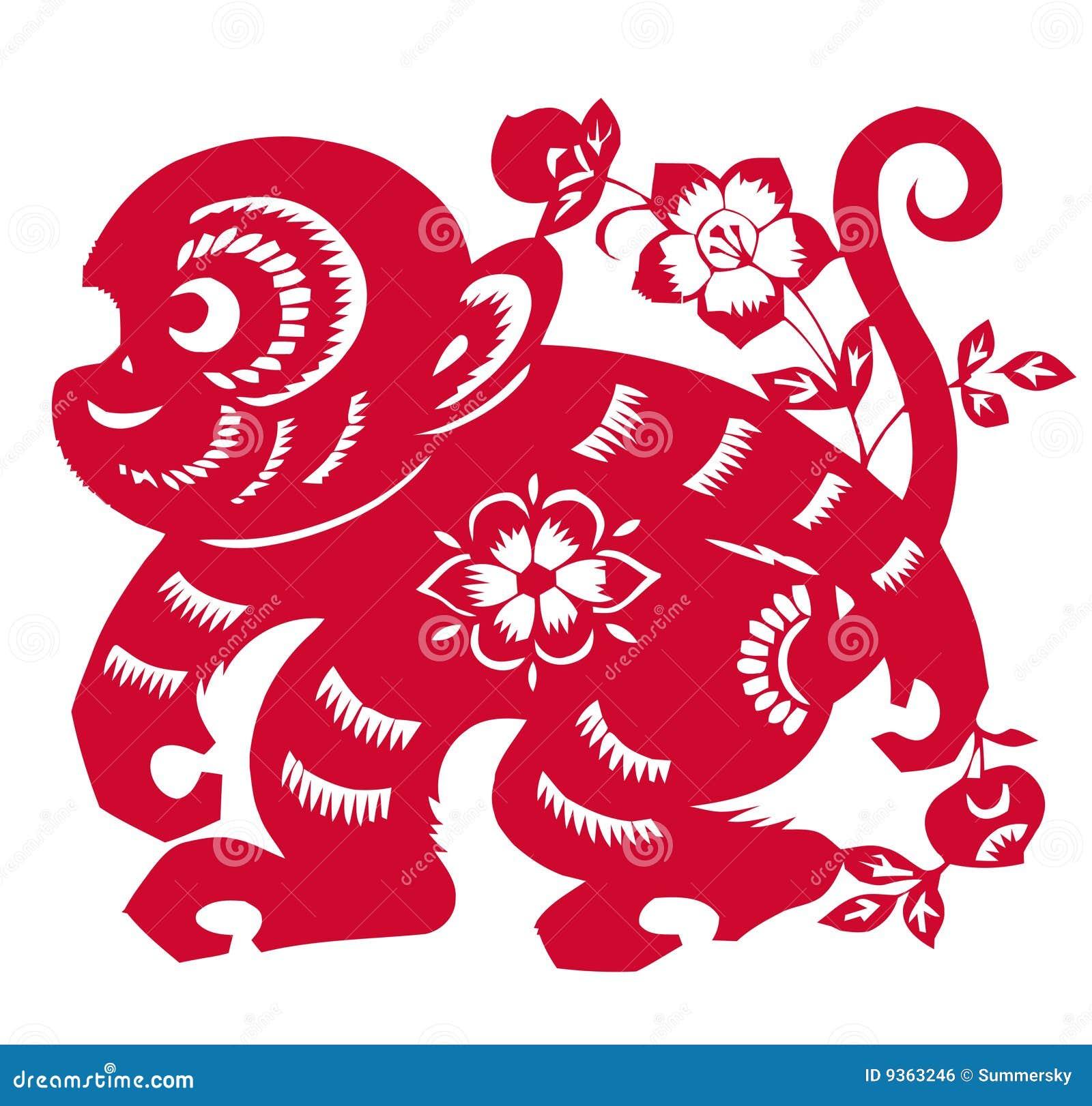 Zodiaco cinese dell 39 anno della scimmia immagine stock for Oggetti tradizionali cinesi