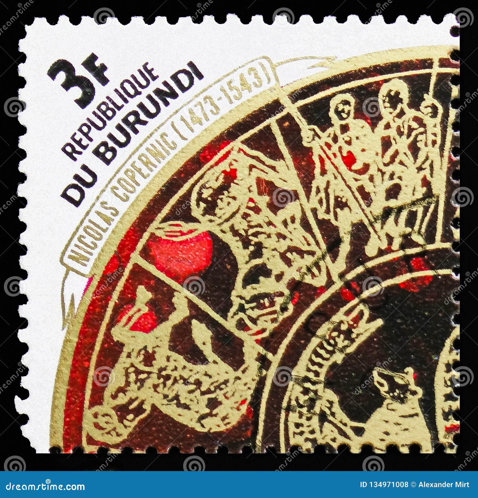 Zodiaco, el 500o aniversario del nacimiento del serie de Copernicus, circa 1973