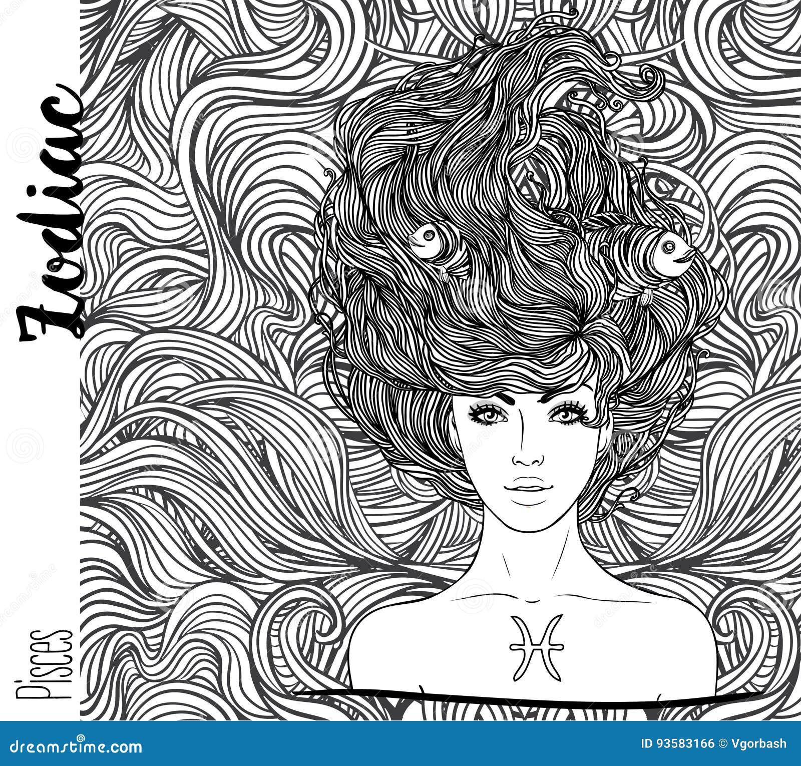 Zodiaco: Illustrazione del segno dello zodiaco di pesci come bella ragazza