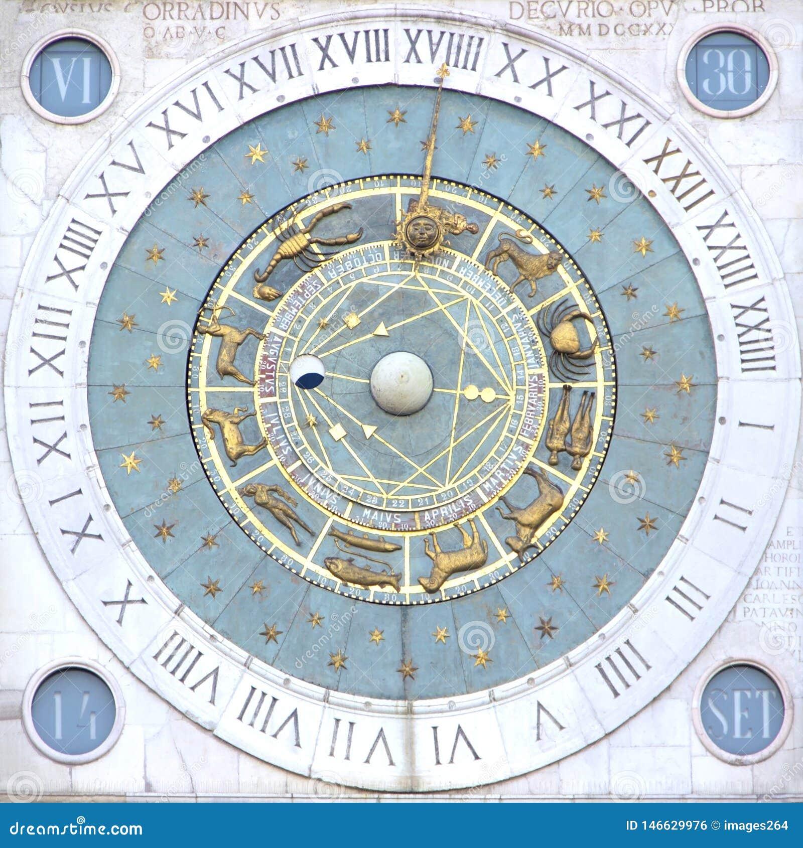 Zodiak clock in Padua, Italy