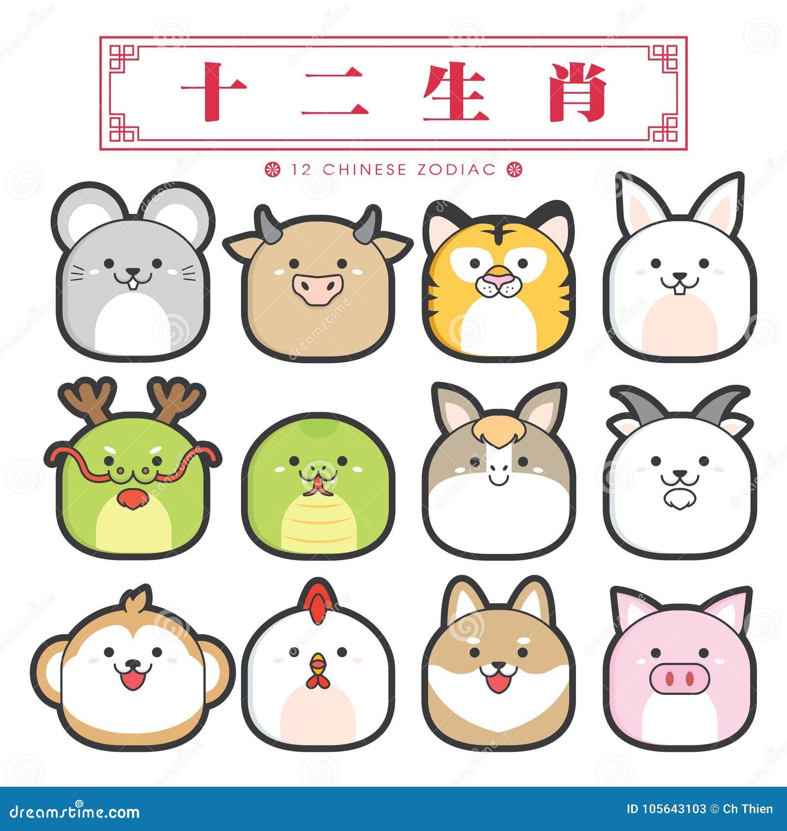 Zodiak för 12 kines, symbolsuppsättning & x28; Kinesisk översättning: 12 kinesiska zodiaktecken: tjalla oxen, tigern, kanin, drak