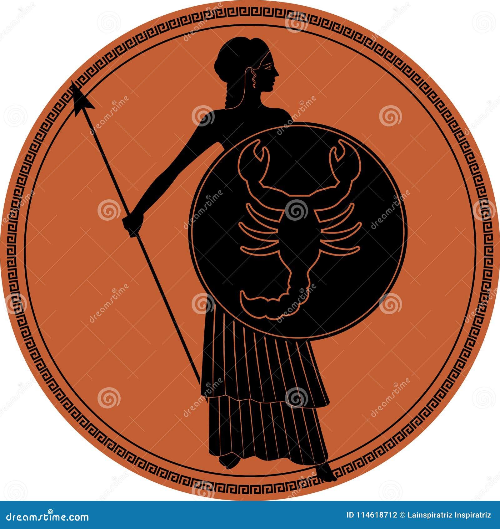 Zodiak I Stilen Av Forntida Grekland Scorpio Vektor