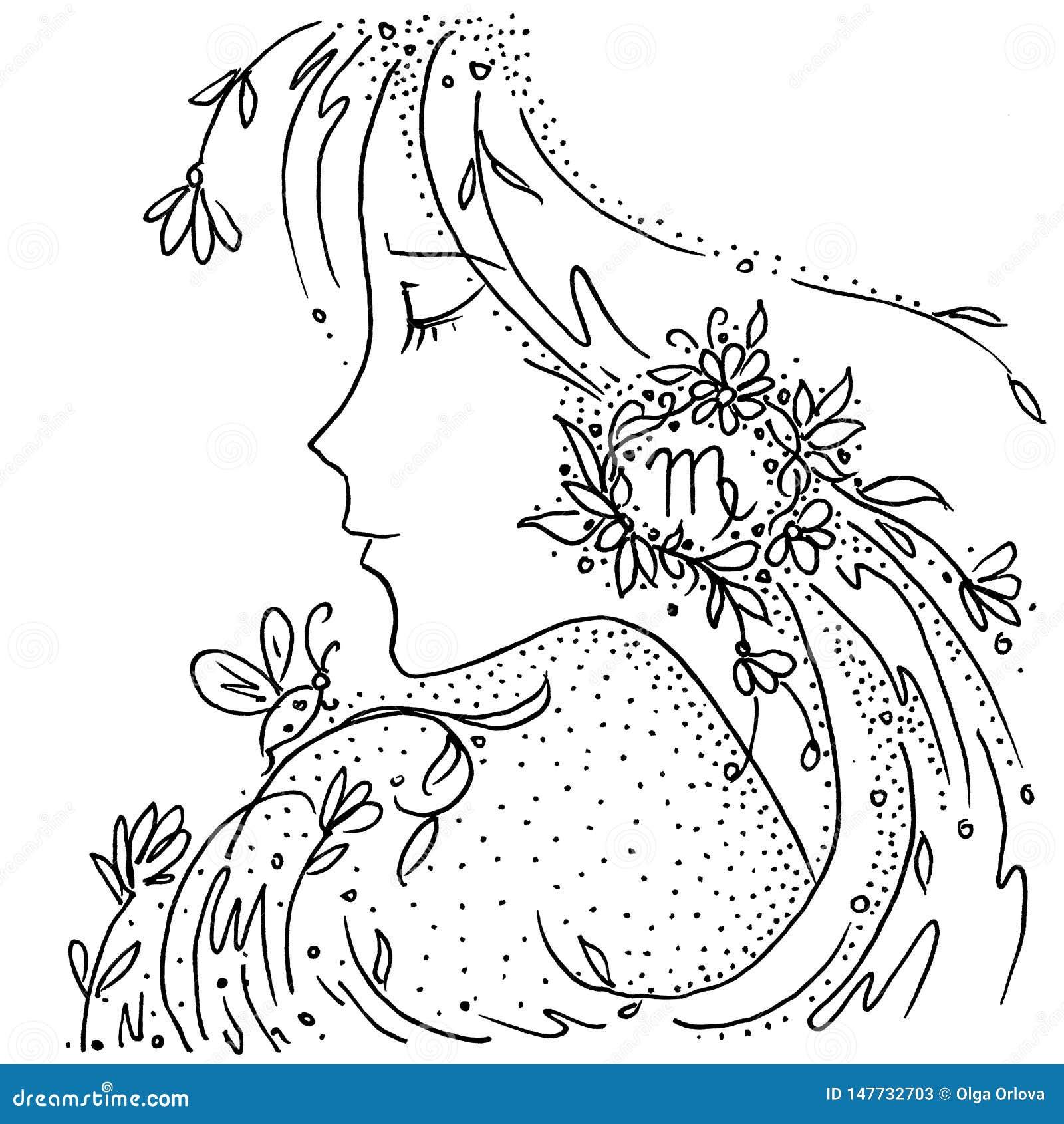 Zodiaka szyldowego Virgo czarny i biały rysunkowa dziewczyna z kwiatami i roślinami w jej włosy