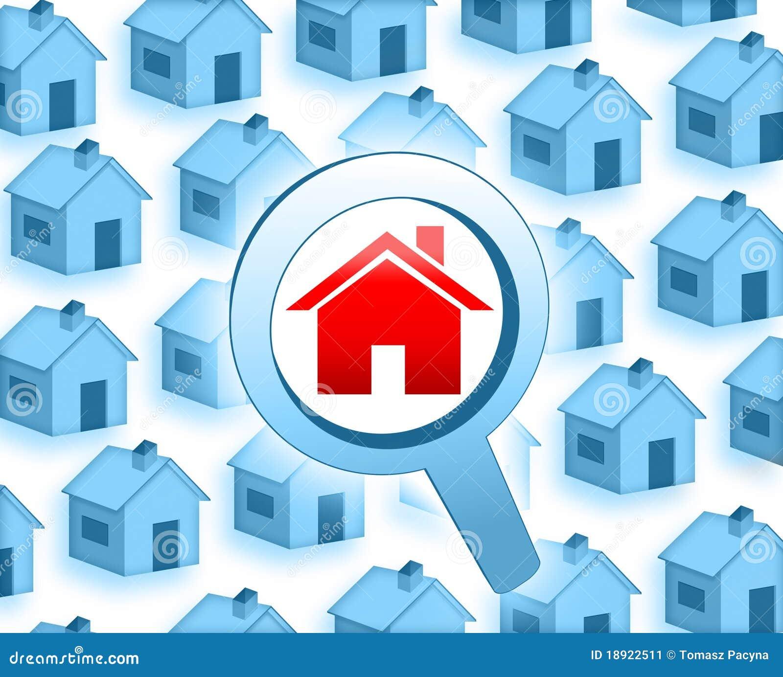 zoek een huis stock illustratie afbeelding bestaande uit
