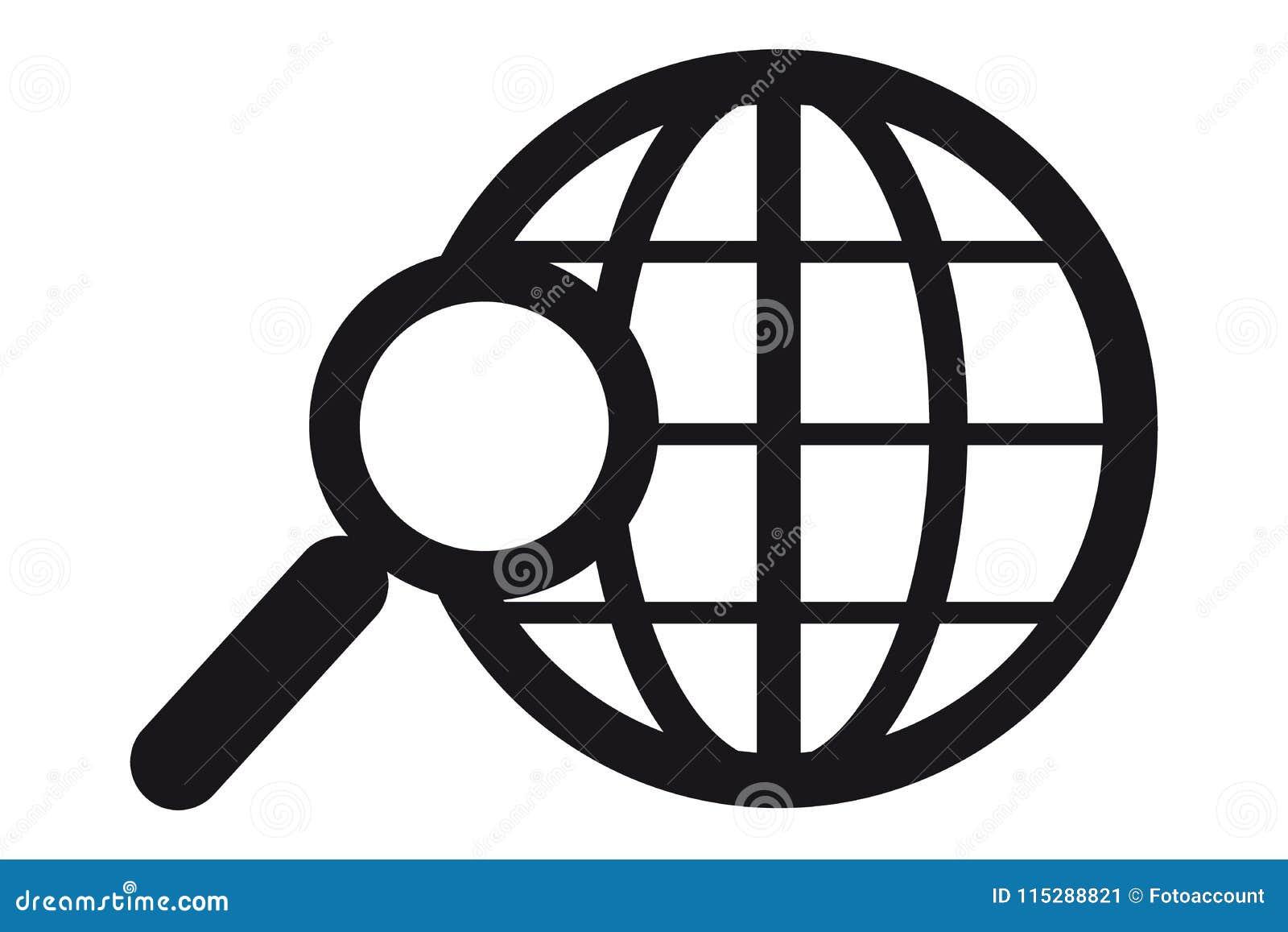Zoek in het VectordiePictogram van World Wide Web - op Wit wordt geïsoleerd