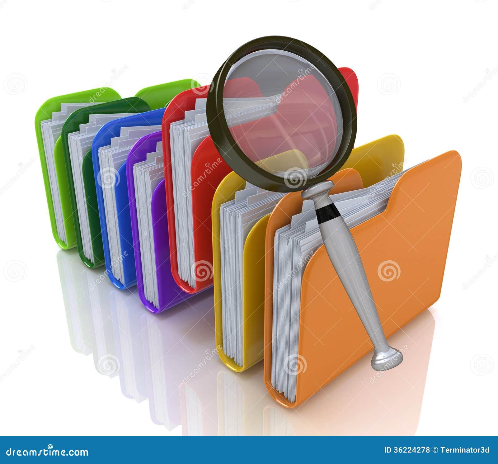 Zoek naar dossiers in de omslag