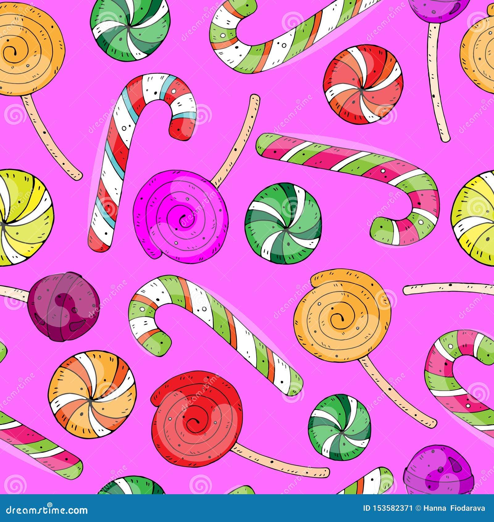 Zoet feestelijk naadloos beeldverhaal vectorpatroon met kleurensuikergoed op een neutrale achtergrond
