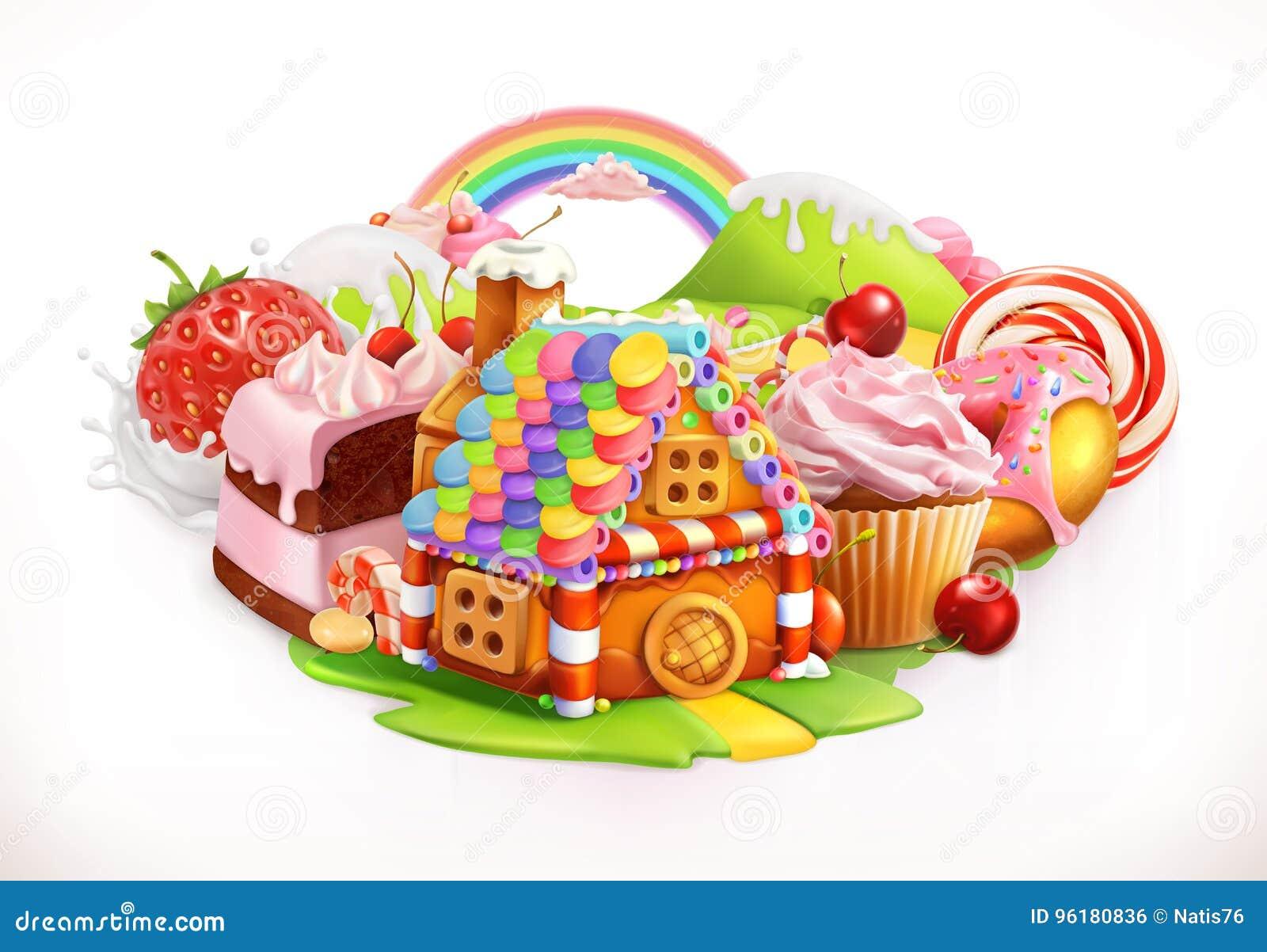 Zoet huis Banketbakkerij en desserts, vectorillustratie