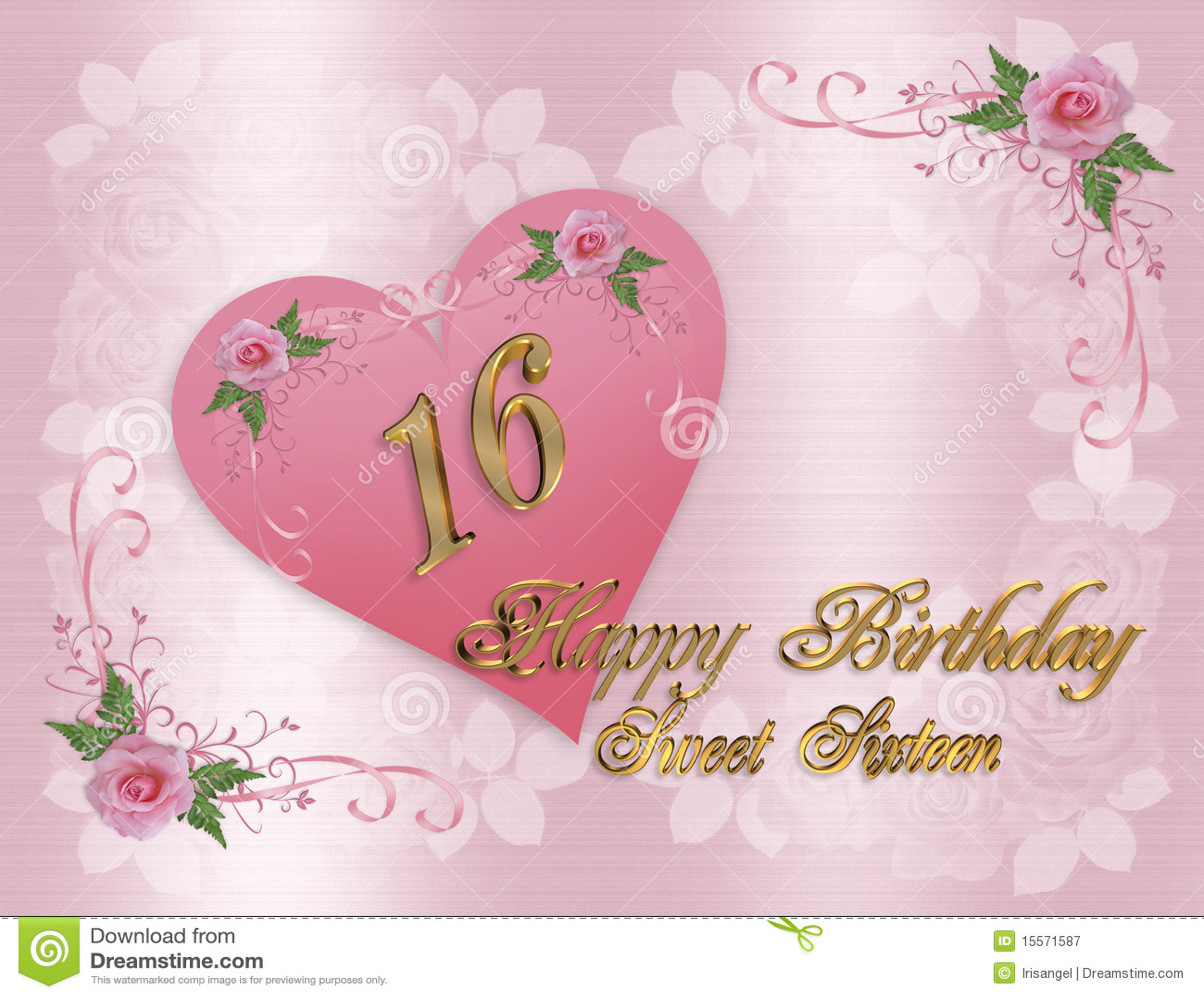 Zoete 16 Verjaardagskaart Stock Illustratie Illustratie Bestaande