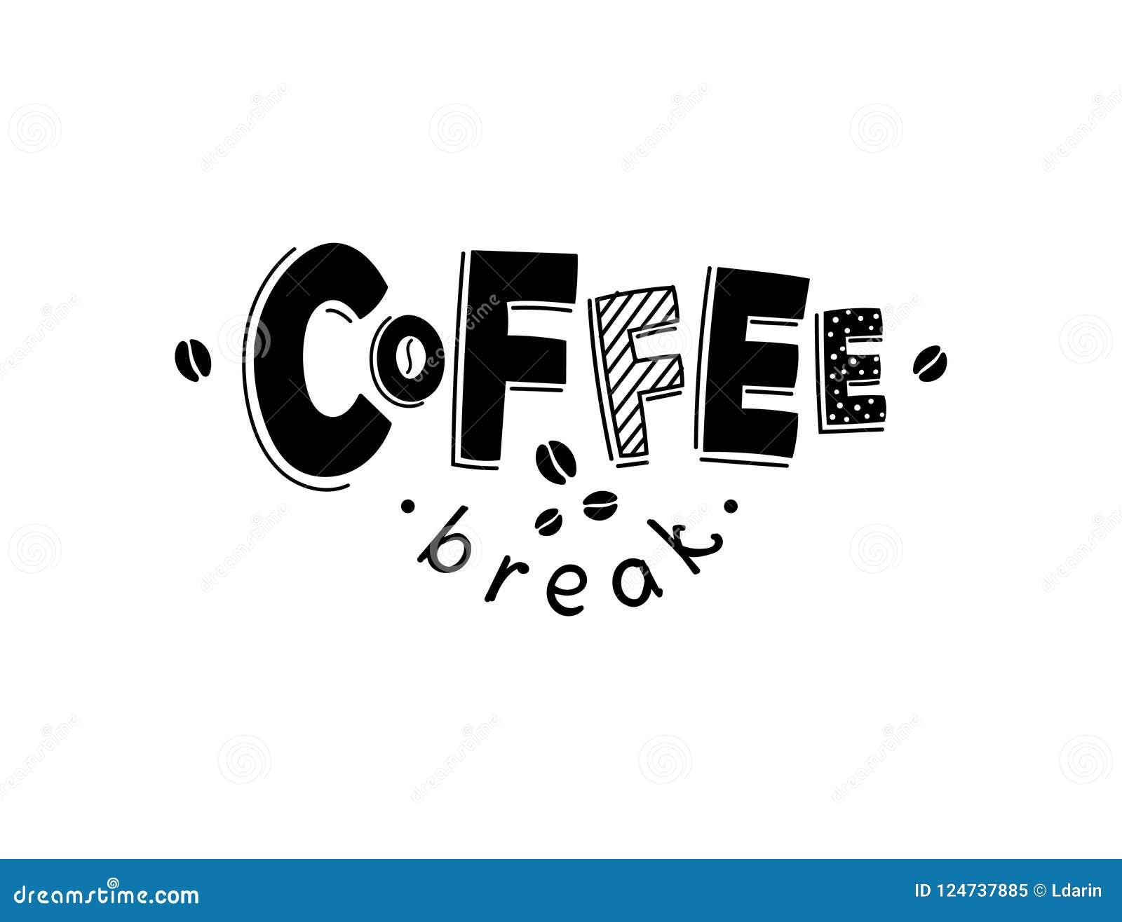 Zoete croissant en een kop van koffie op de achtergrond Het vector zwart-witte van letters voorzien