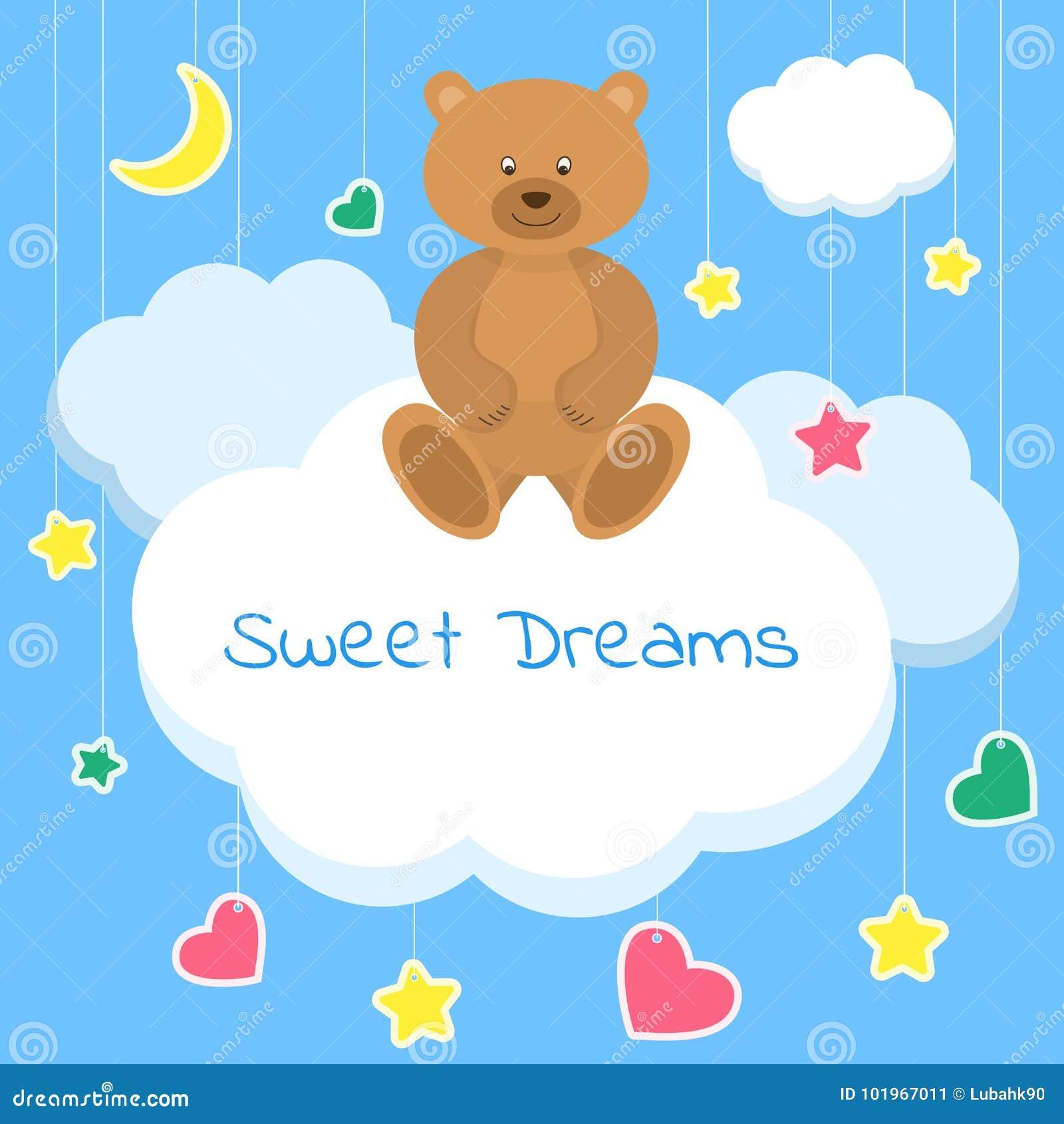 Mooie Slaapkamer Voor Kinderen.Zoete Dromen Kleurrijke Vectorillustratie Slaapconcept Mooie Affiche