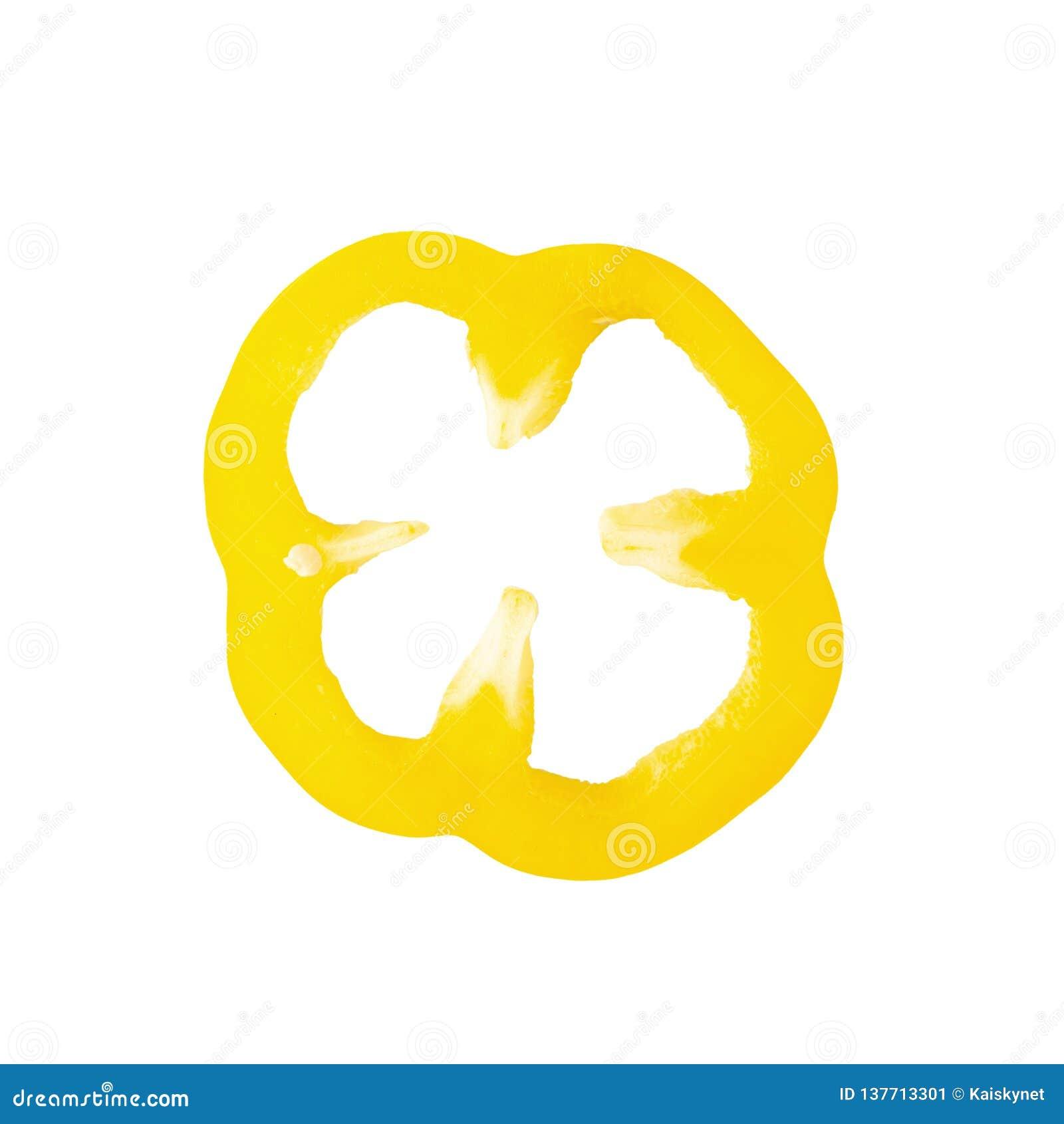 Zoete gele die peper over witte achtergrond wordt geïsoleerd
