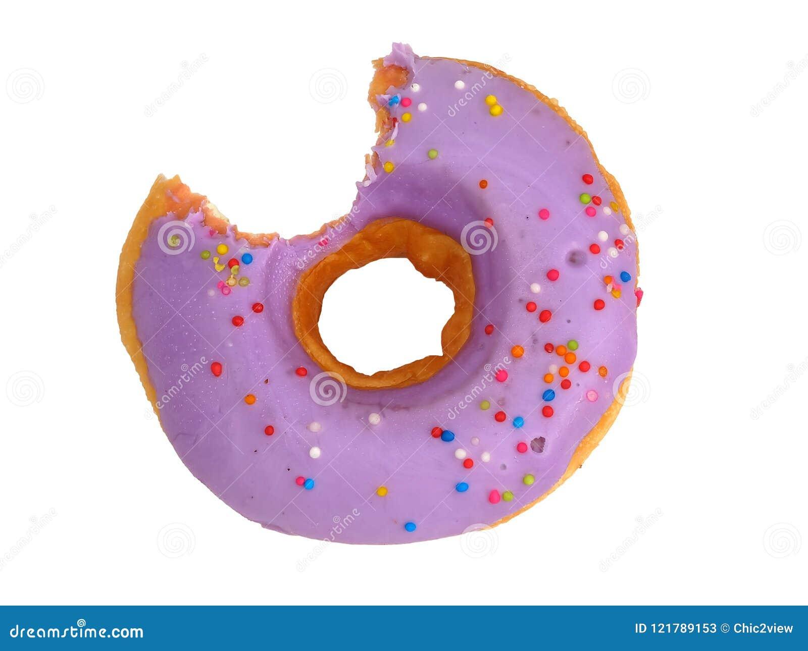 Zoete purpere Gebeten die Doughnut met bosbessenroom wordt verglaasd