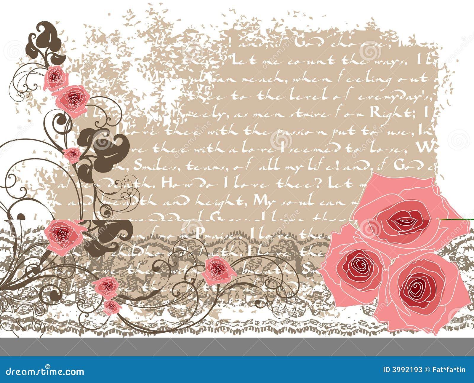 Zoete roze rozen en uitstekend gedicht