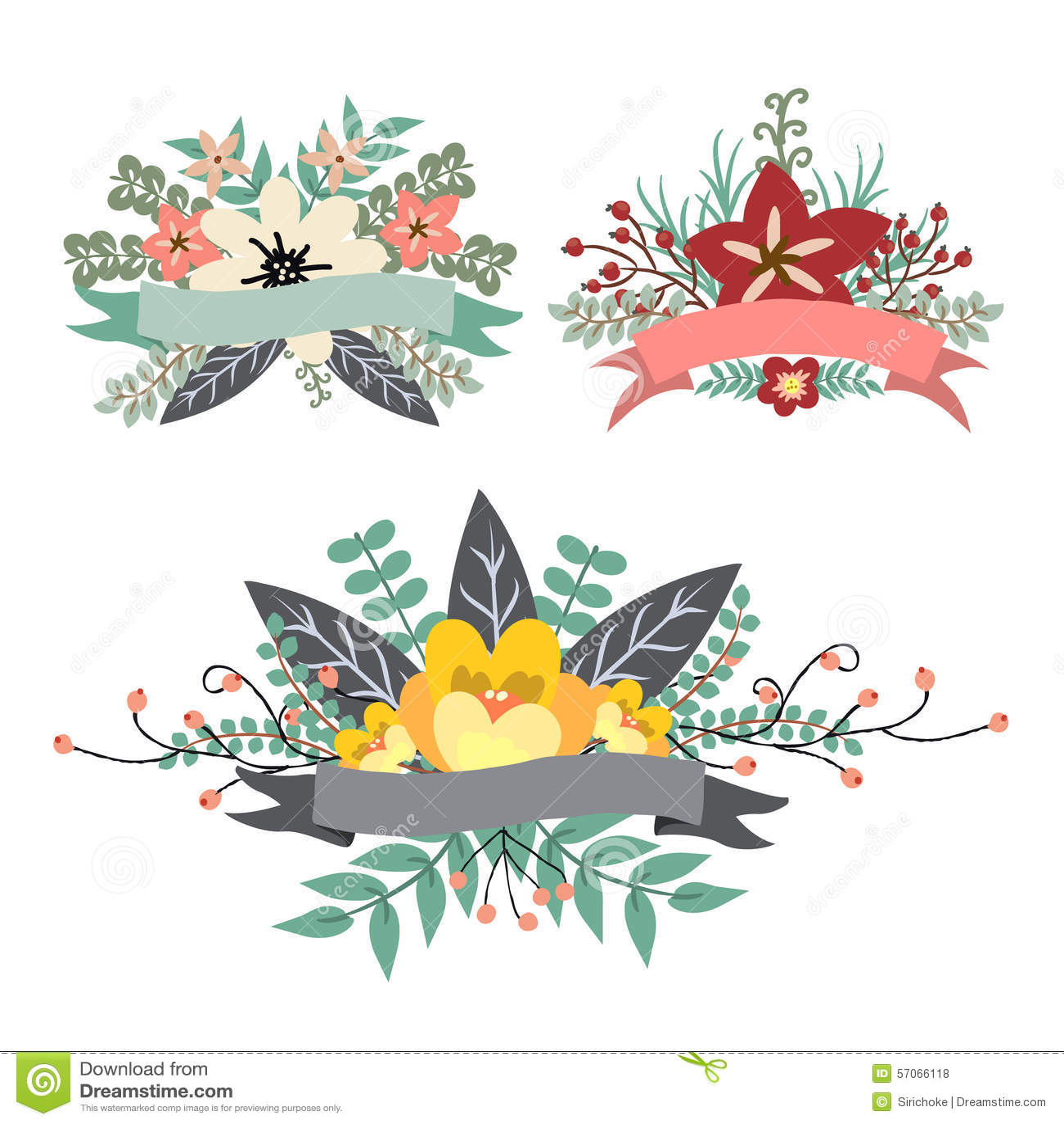 Zoete uitstekende bloemenbos met lintbanner