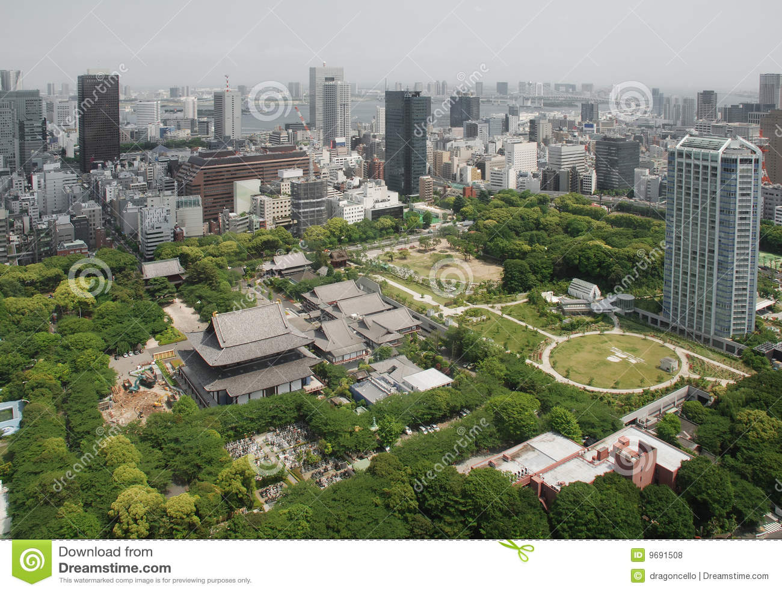 Zojo aérien de vue de temple de ji