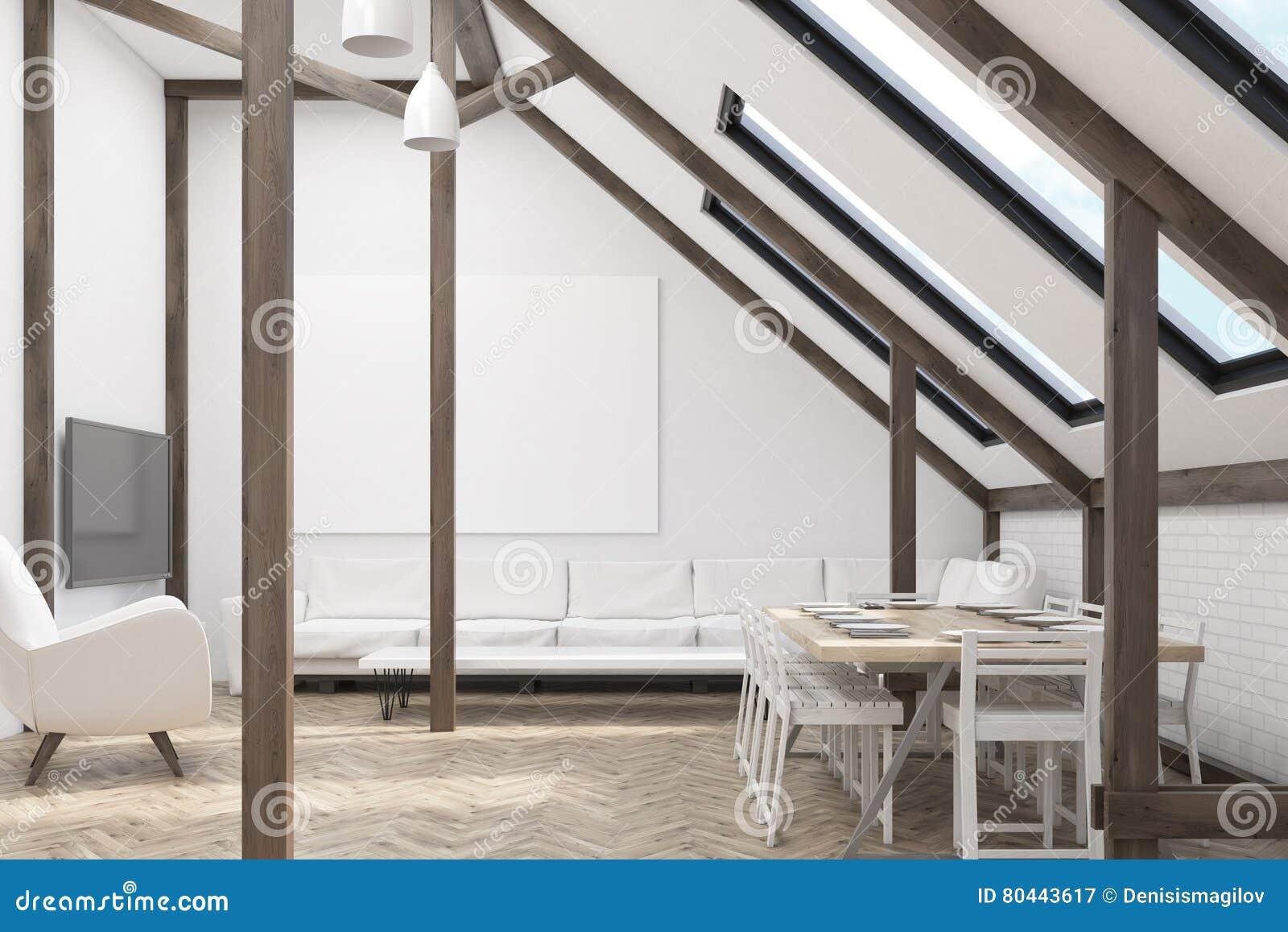 Woonkamer Op Zolder : Zolder met een woonkamer stock illustratie. illustratie bestaande