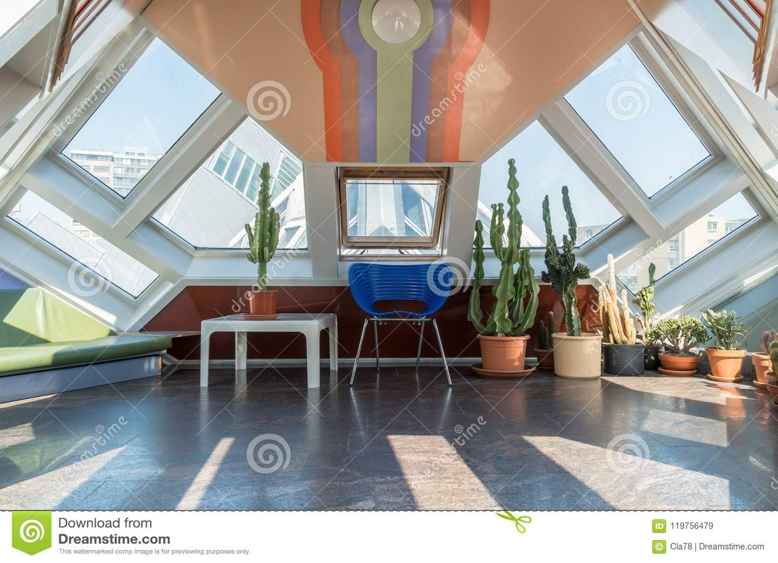Zolder van een kubushuis in Rotterdam