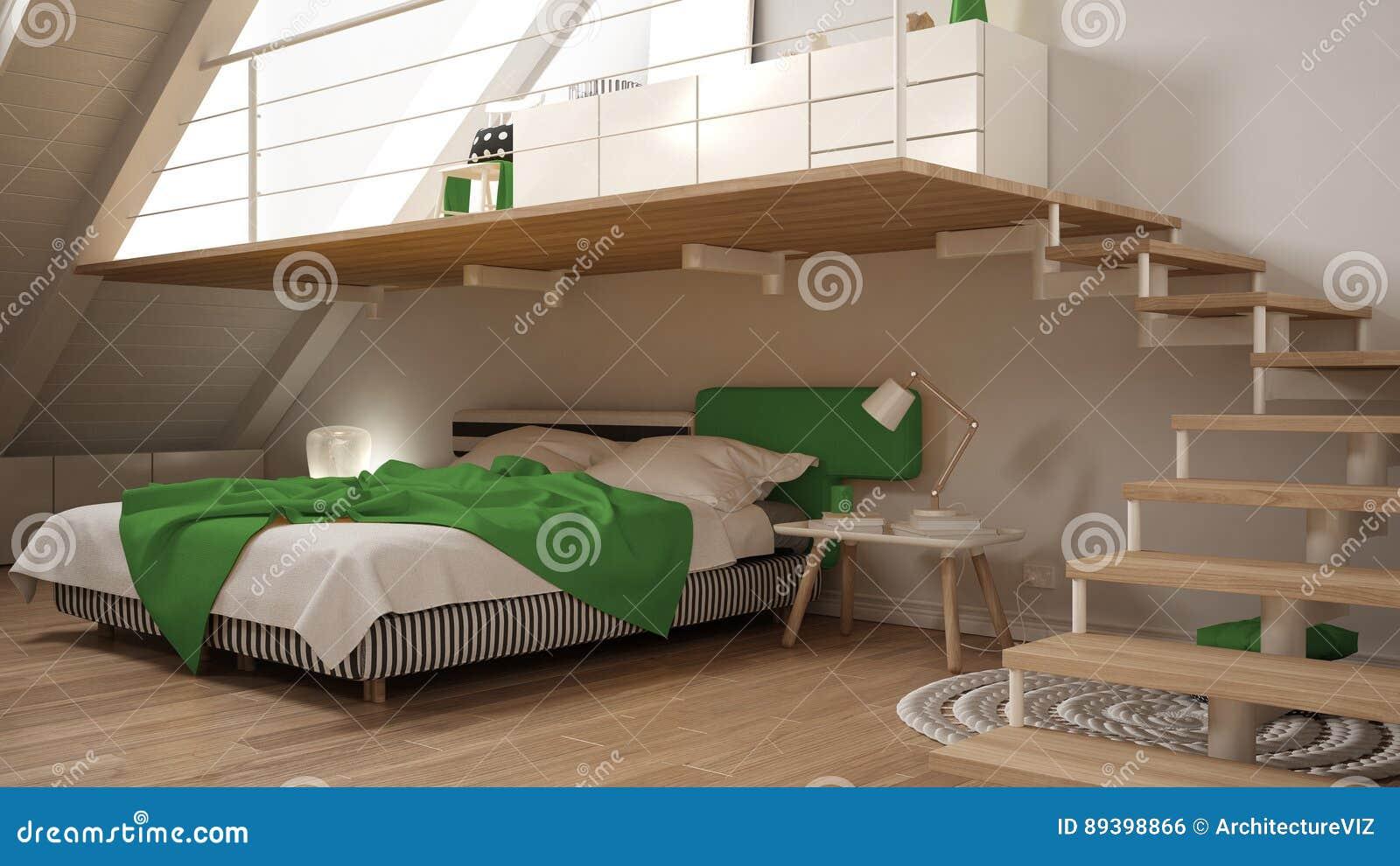 Slaapkamer Groen Wit : Zoldermezzanine skandinavische minimalistische slaapkamer wit en