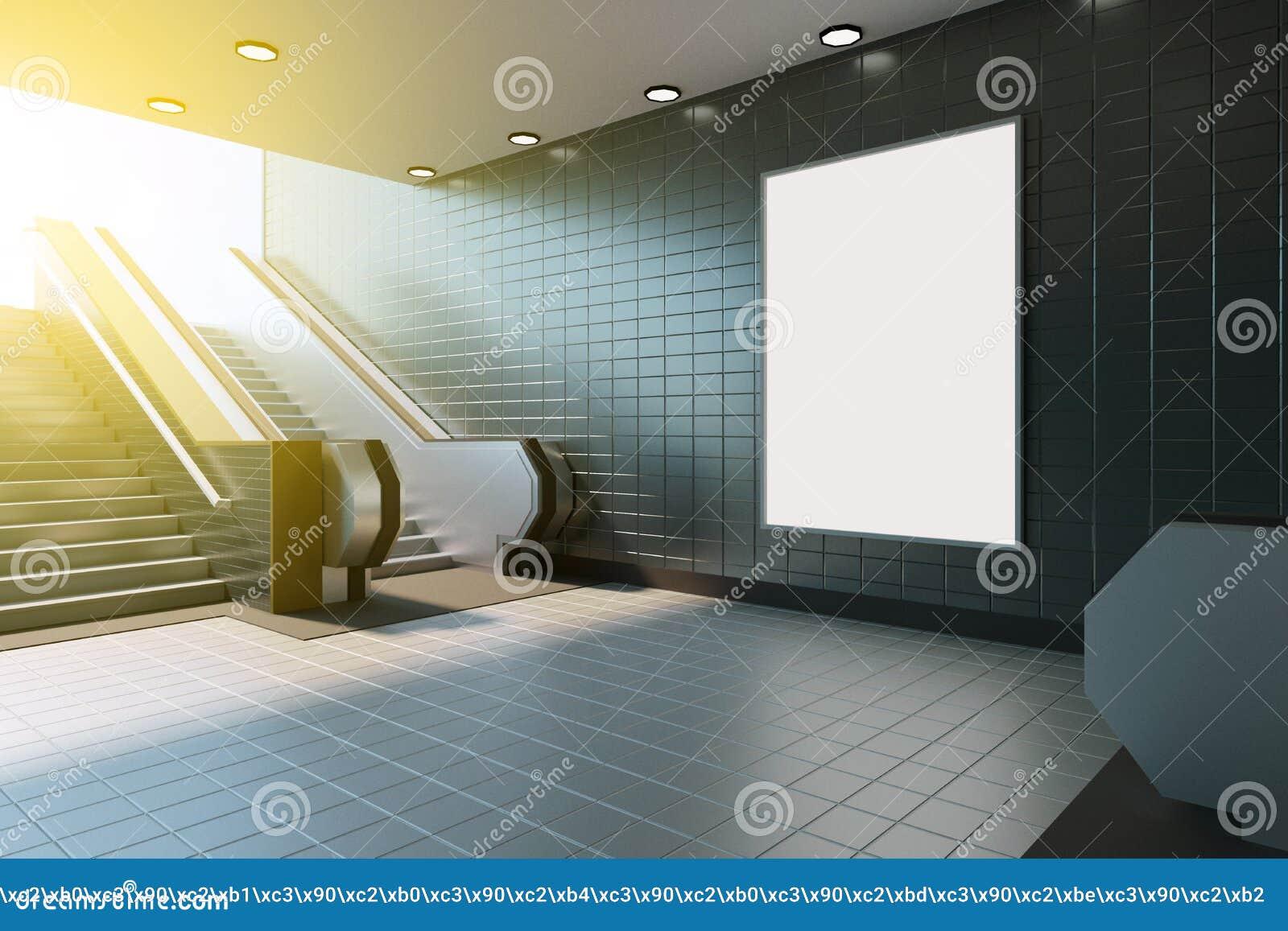 Zombaria acima da exposição dos anúncios do molde dos meios do cartaz na escada rolante da estação de metro rendição 3d