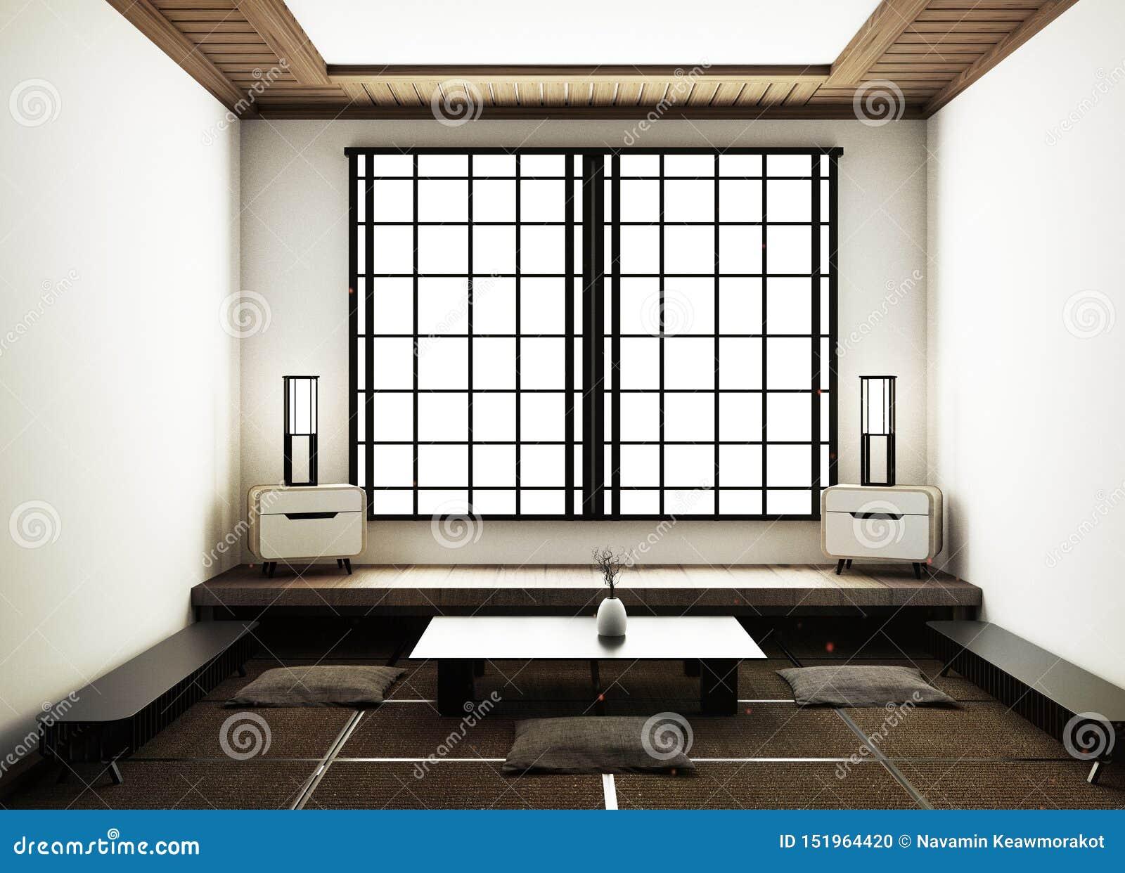 A zombaria acima das esteiras de tatami e das portas deslizantes de papel chamou Shoji no estilo japonês da sala rendi??o 3d