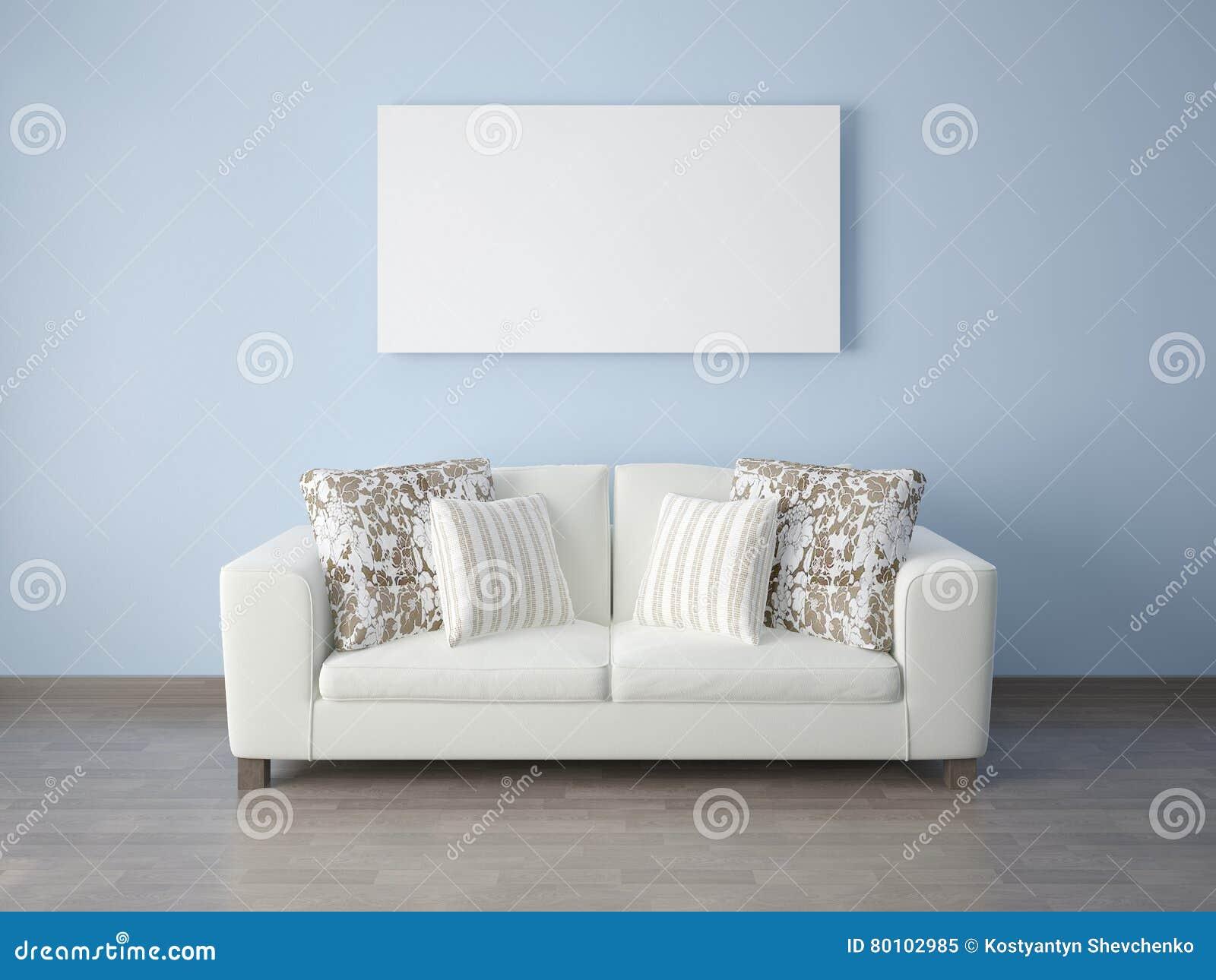 Zombaria acima do sofá do estojo compacto do cartaz