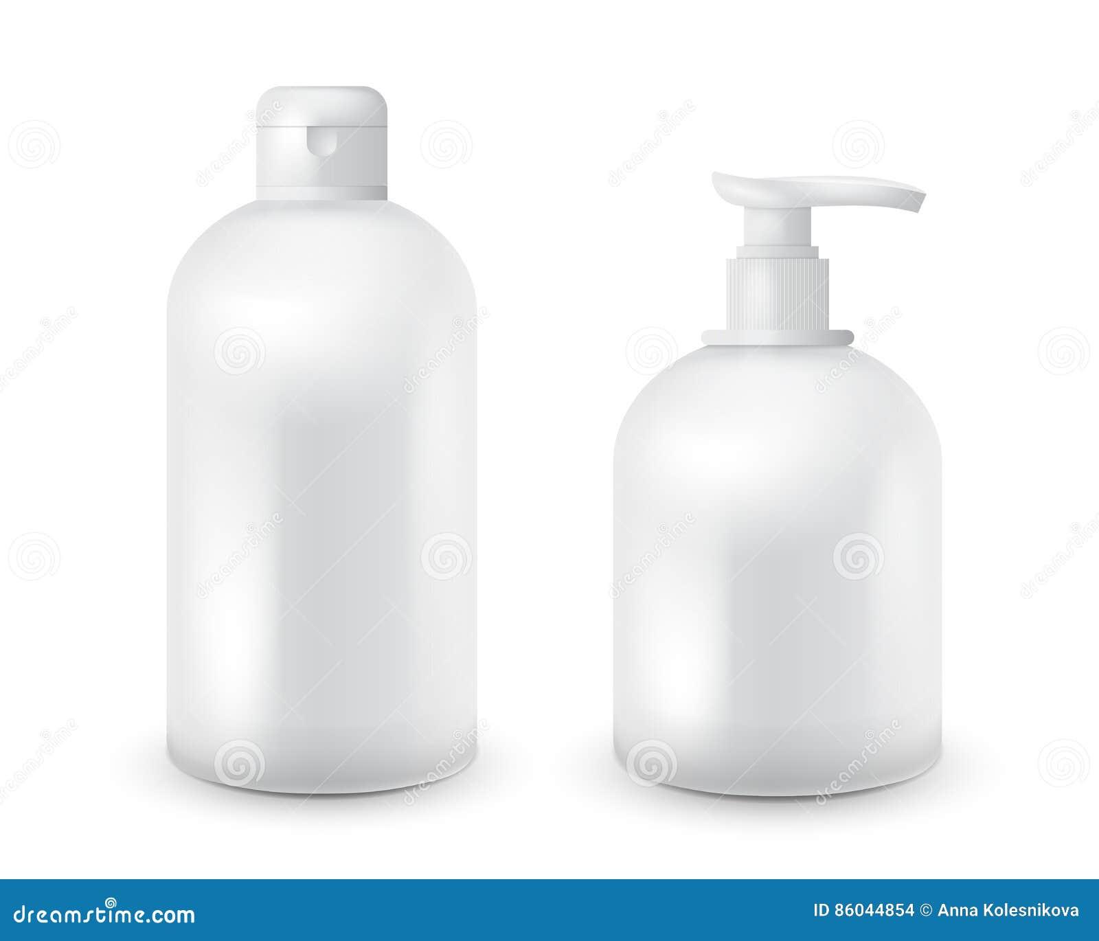 A zombaria cosmética realística da garrafa configurou o bloco no fundo branco Molde cosmético do tipo Bloco do champô e do sabão