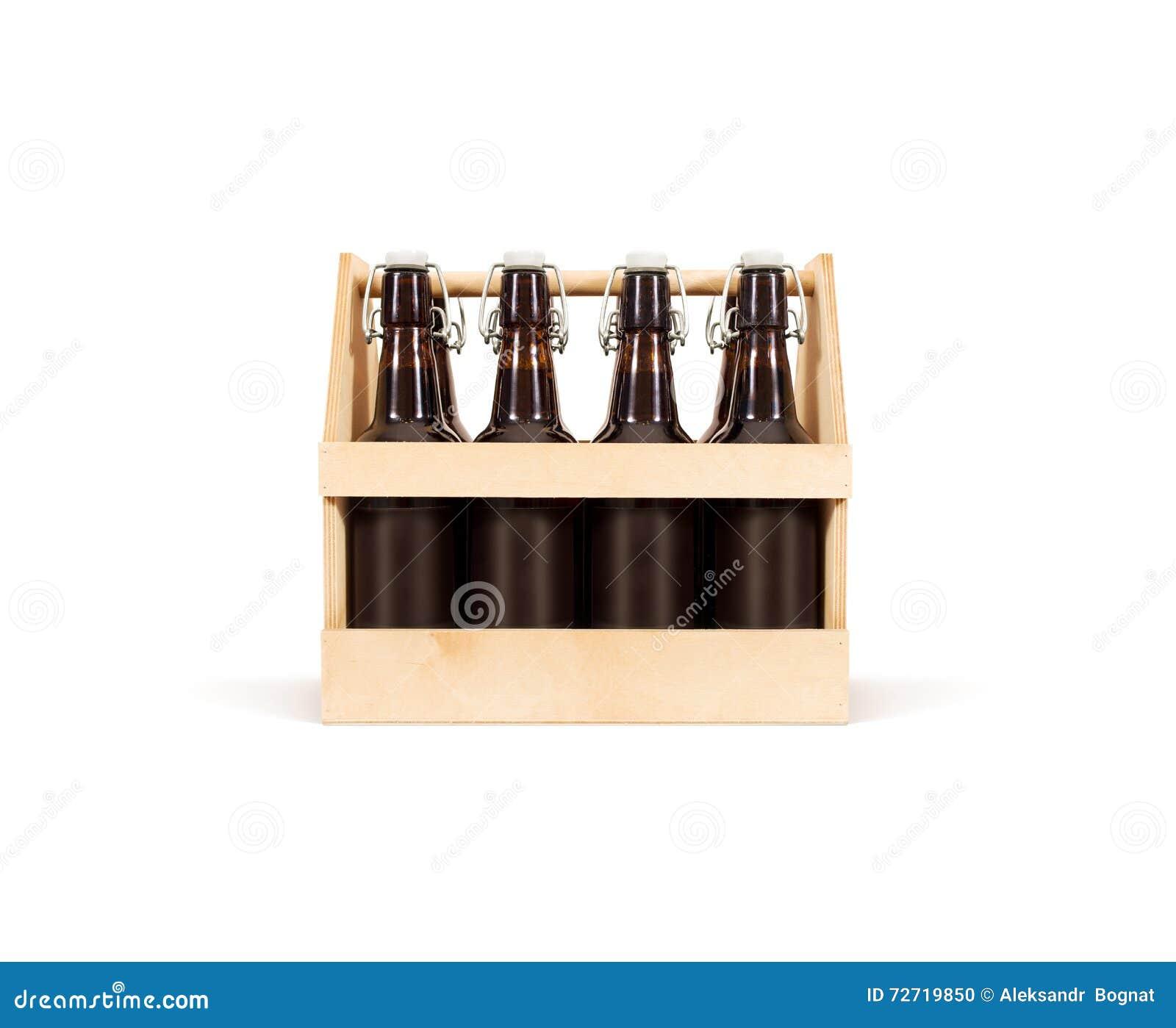 Zombaria da caixa de madeira da cerveja isolada acima Caixa de madeira