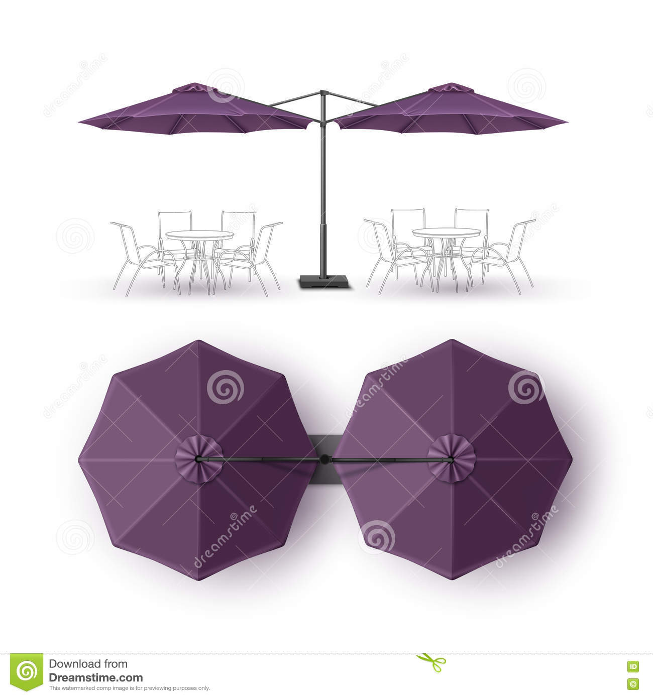 Zombaria do guarda-chuva do restaurante de Violet Outdoor Beach Cafe Lounge isolada acima