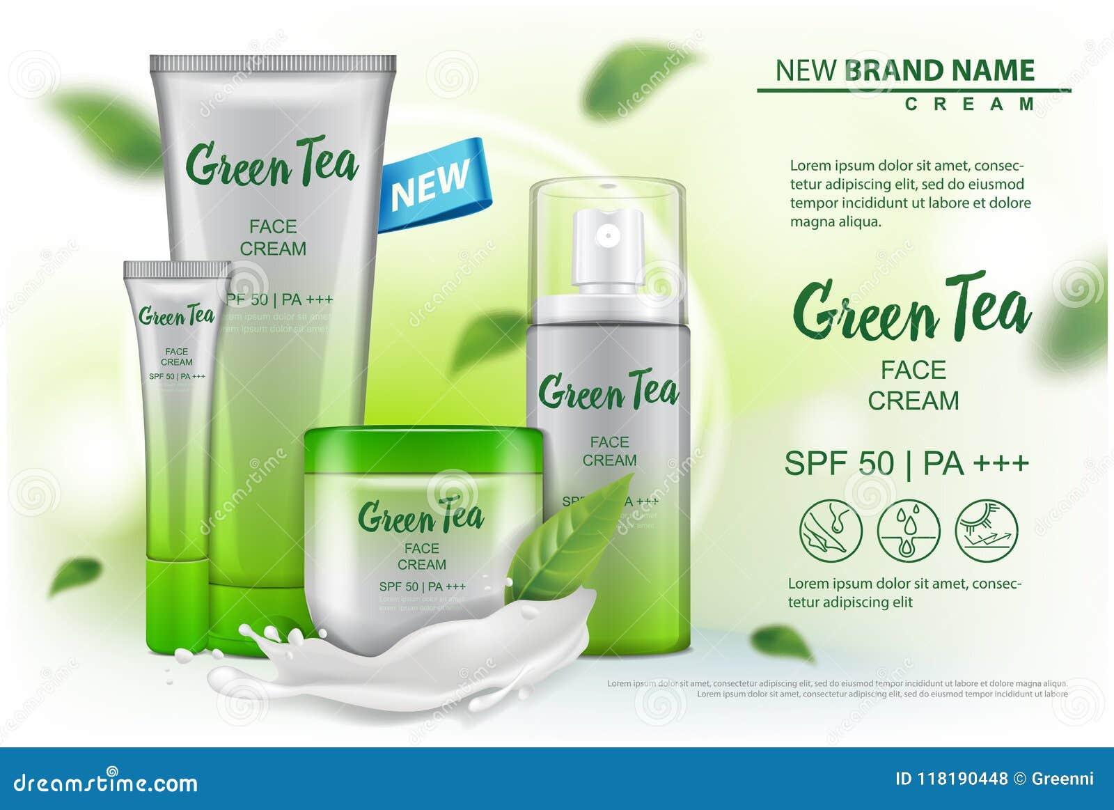 Zombaria do produto dos cosméticos acima com propaganda do extrato do chá verde para o catálogo, compartimento Projeto do vetor d
