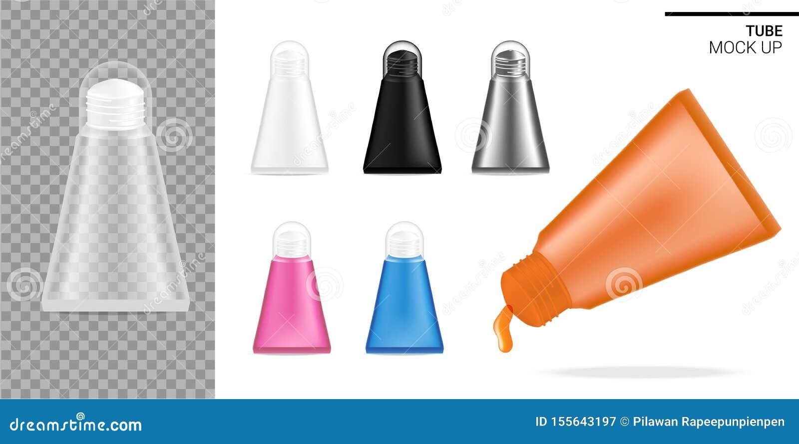 Zombaria do tubo acima do cosmético realístico ou do alimento transparente, preto e branco do molho Cuidados médicos e produto mé