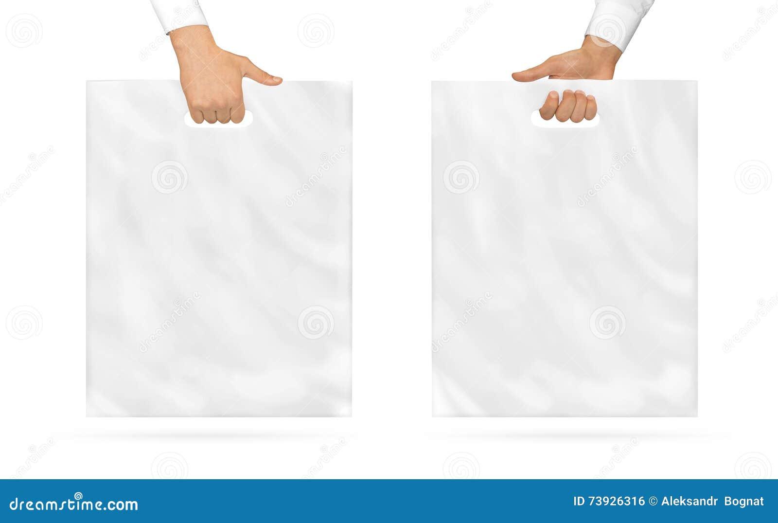 Zombaria vazia do saco de plástico que guarda acima à disposição Polietileno vazio