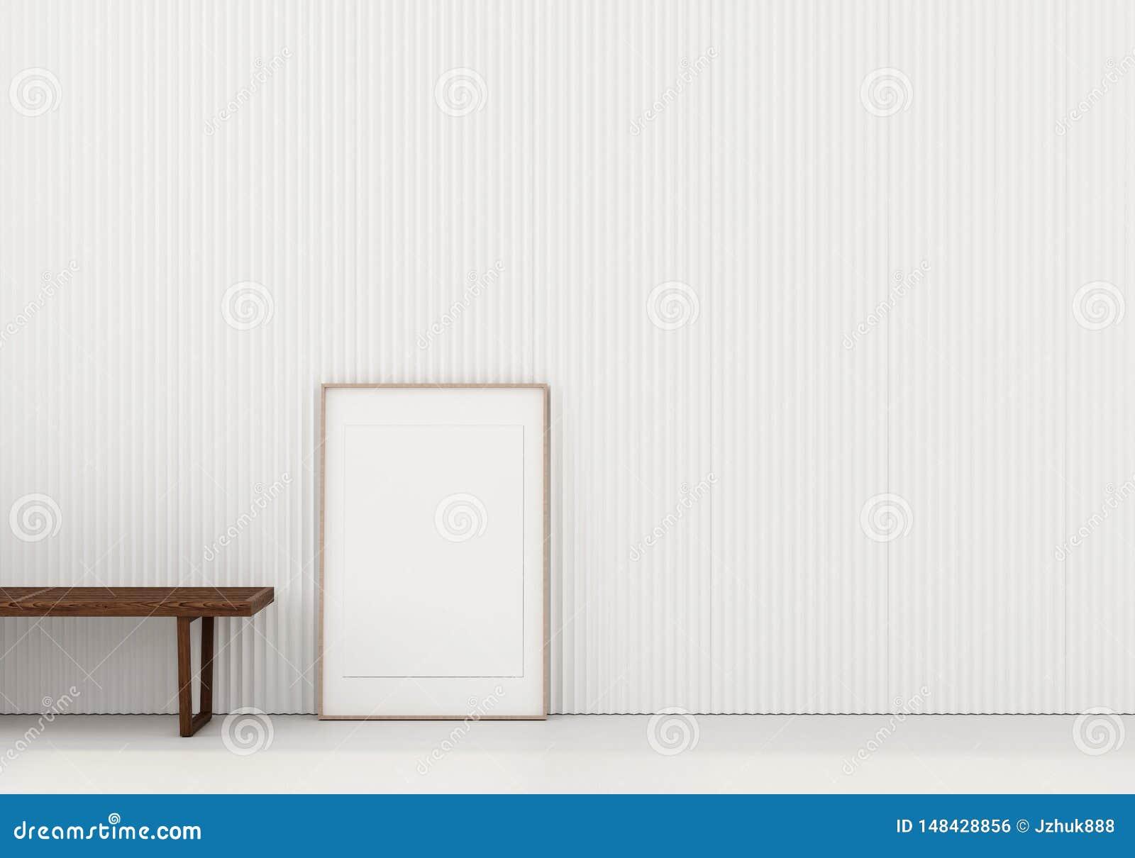 Zombe acima de interior com banco de madeira e cartaz