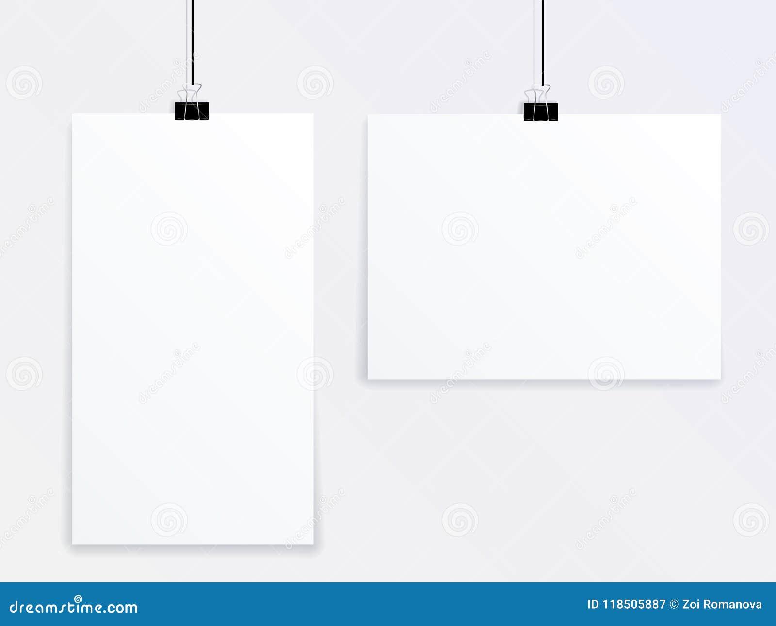 Zombe acima de um vetor de dois cartazes dos tamanhos diferentes que penduram em uma parede cinzenta em pregadores de roupa do es