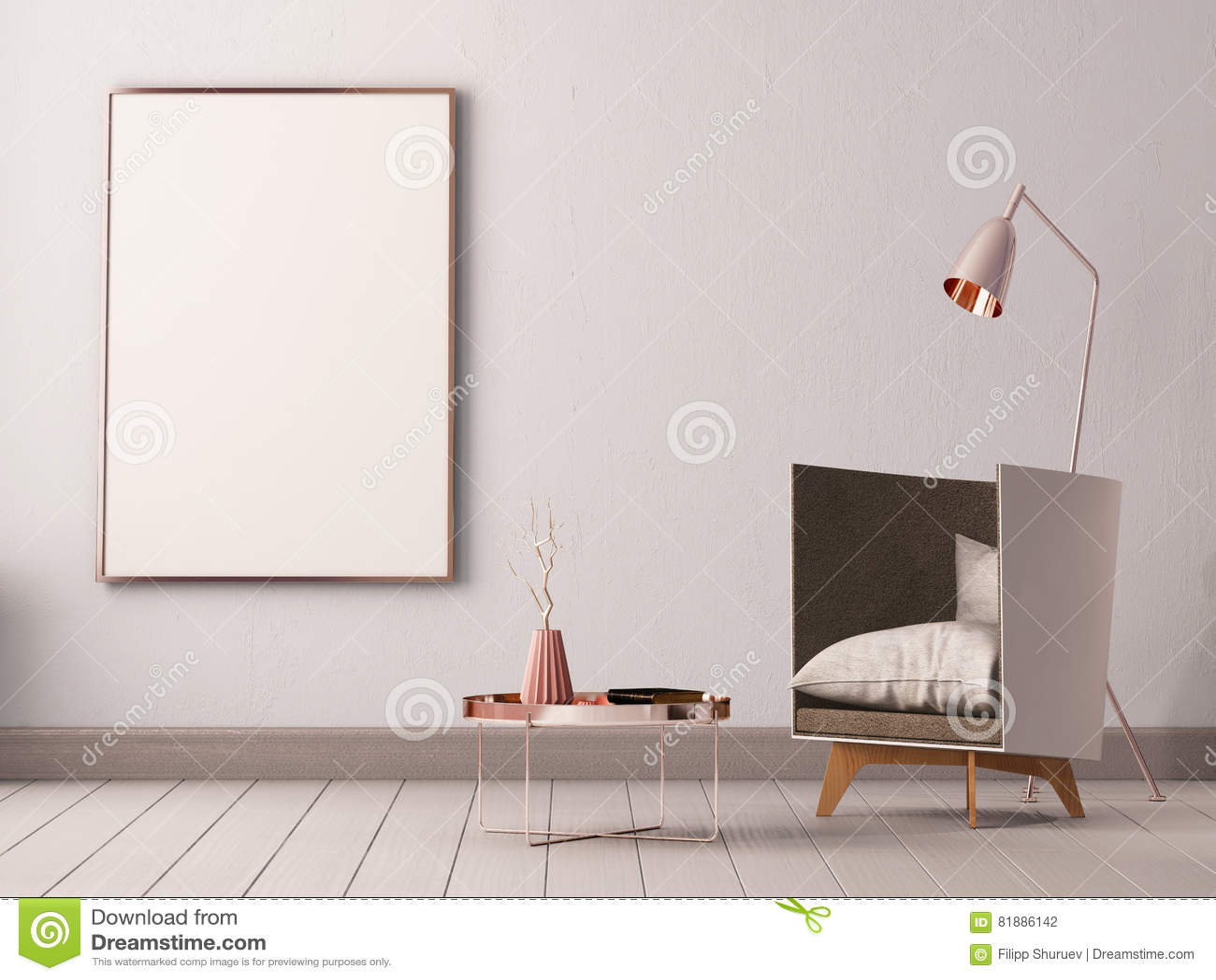 Zombe acima do cartaz no interior de uma sala de visitas com poltronas e lâmpadas 3d a ilustração 3d rende