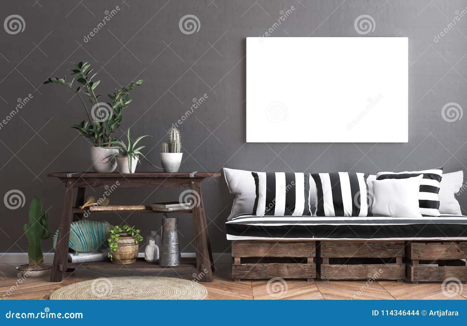 Zombe acima do quadro do cartaz no fundo do interior do moderno